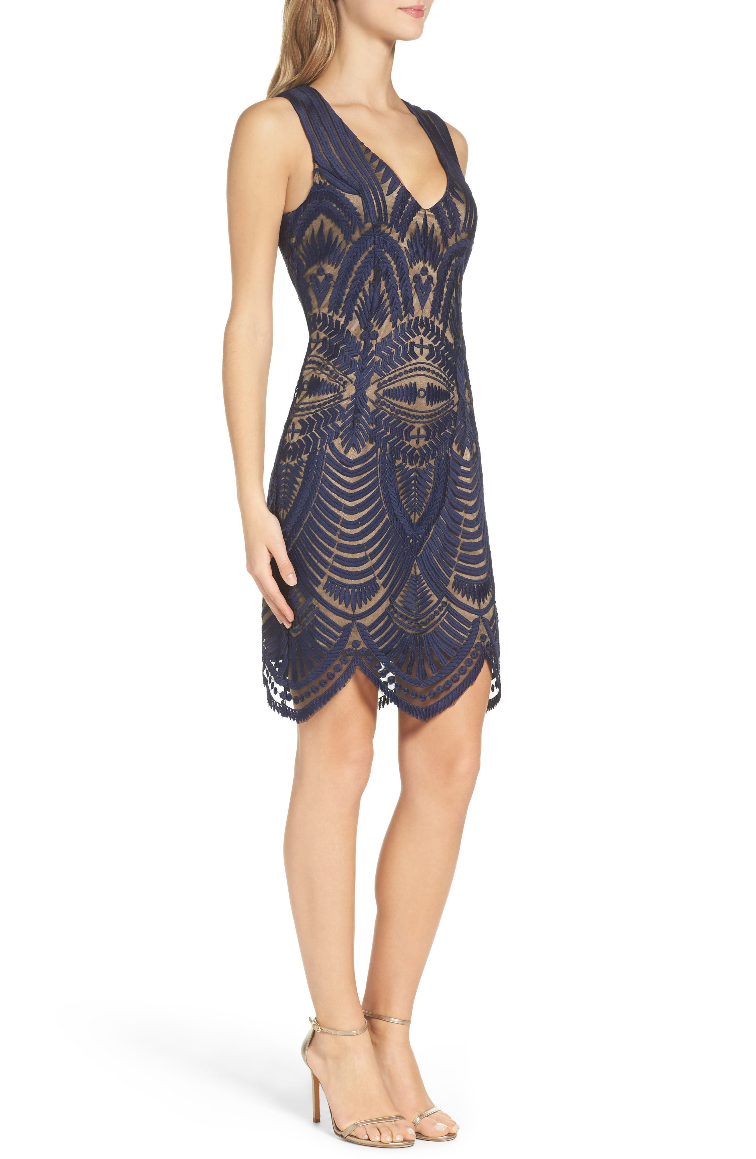Embroidered Mesh Dress,                             Alternate thumbnail 3, color,                             Ink