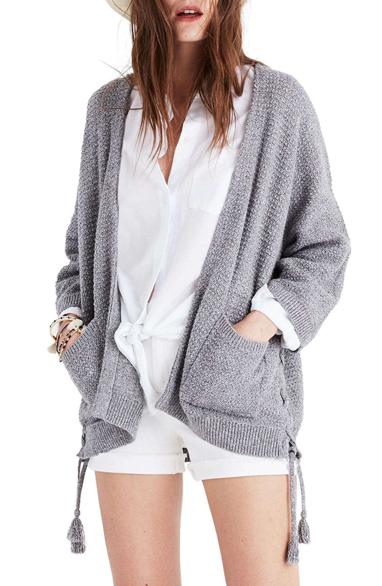 Side Lace-Up Cardigan,                         Main,                         color, Marled Shadow