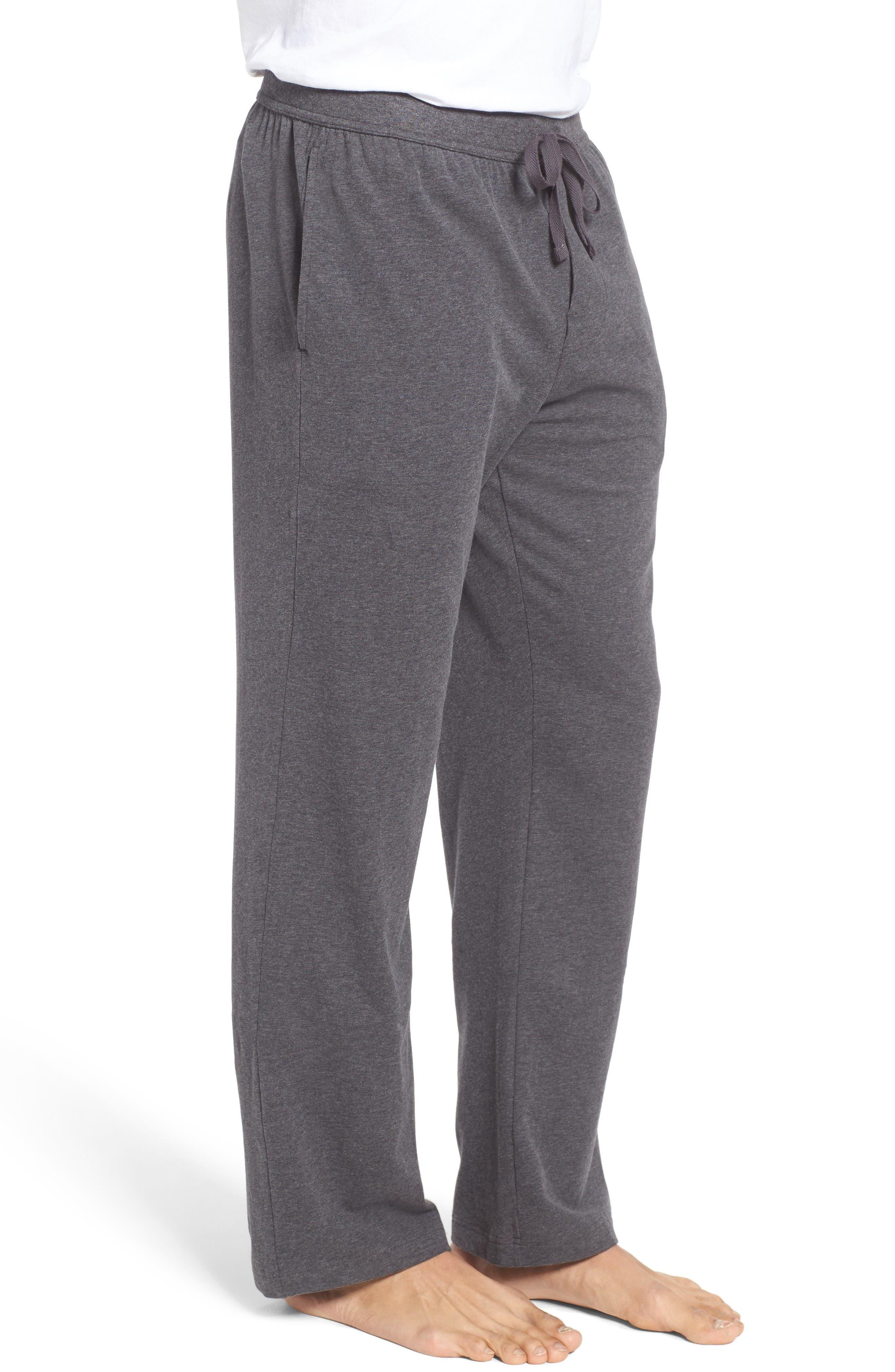 Stretch Cotton Lounge Pants,                             Alternate thumbnail 3, color,                             Grey Charcoal