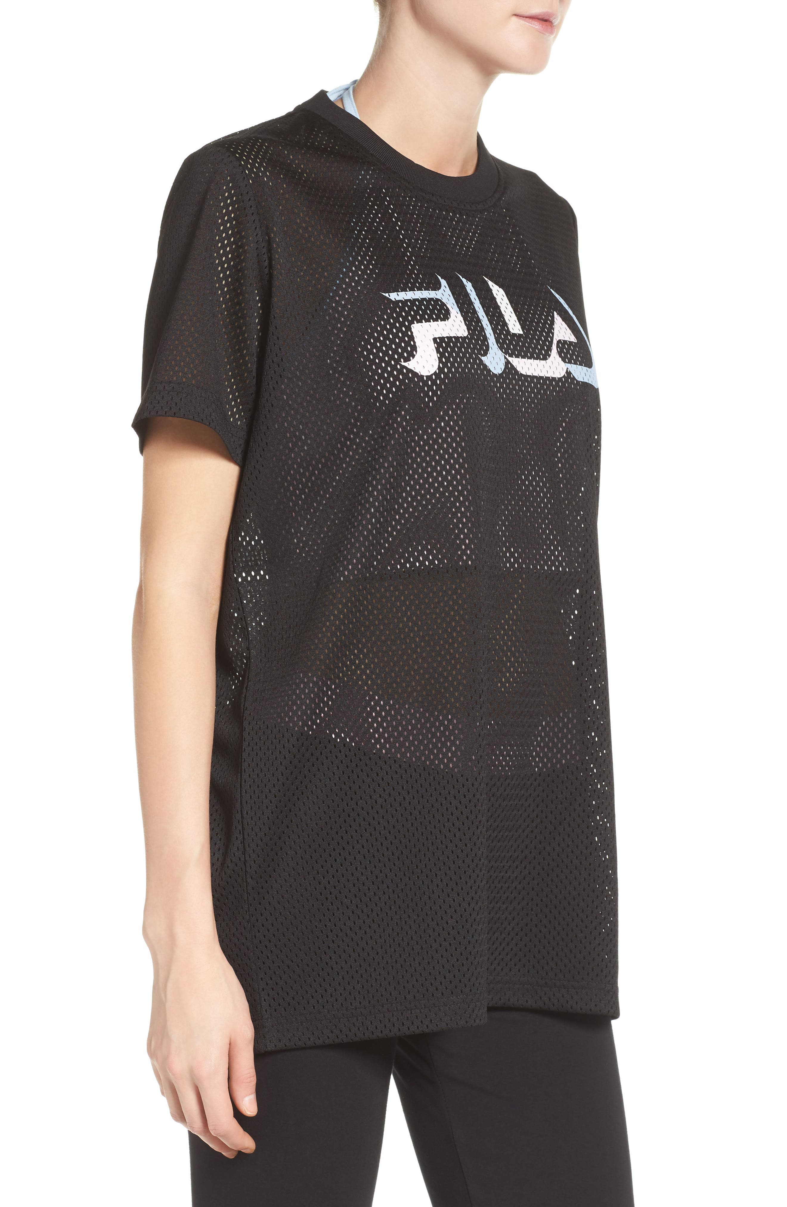Liona Mesh Tee,                             Alternate thumbnail 3, color,                             Black