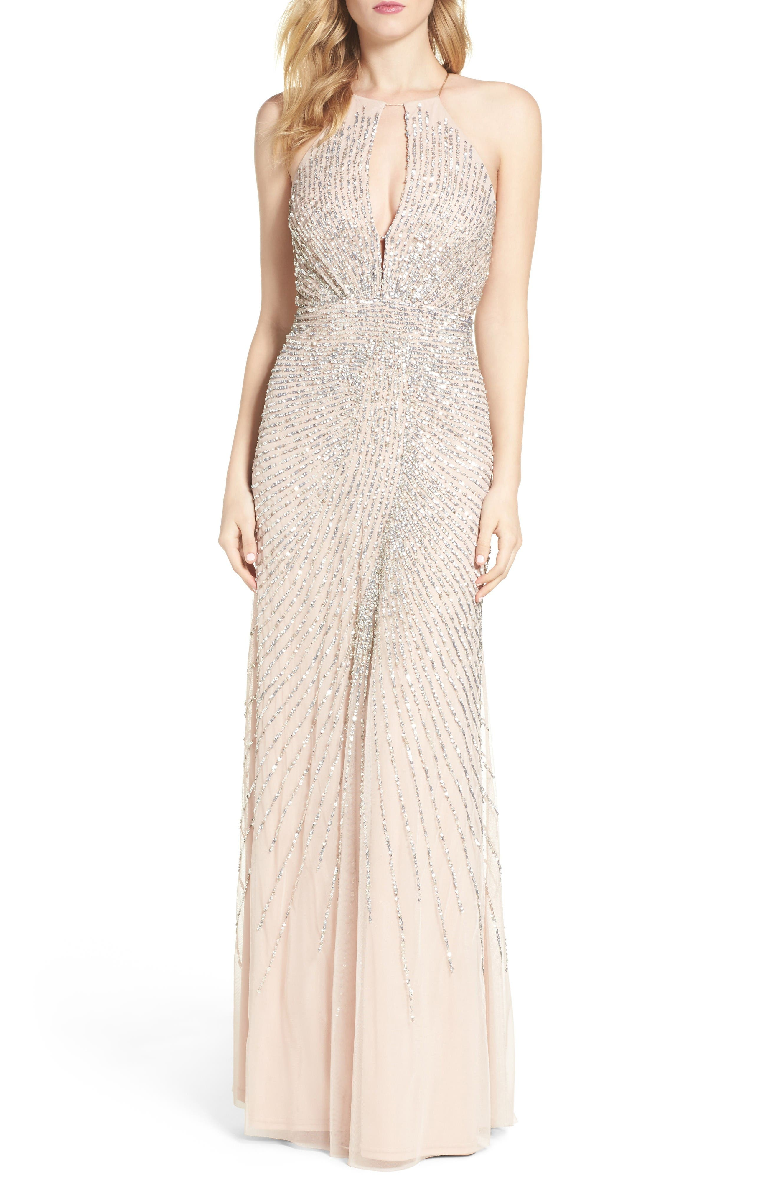 Main Image - Adrianna Papell Beaded Mesh Fit & Flare Gown