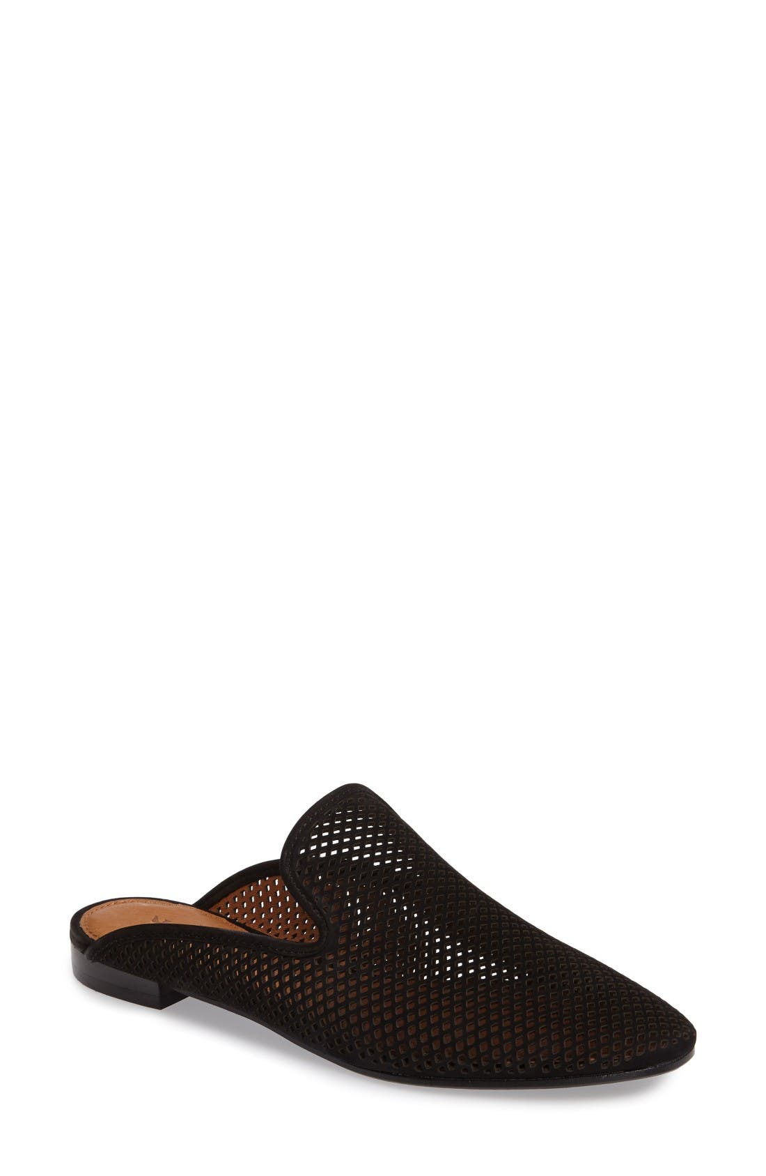 Gwen Perforated Mule,                         Main,                         color, Black Nubuck Leather