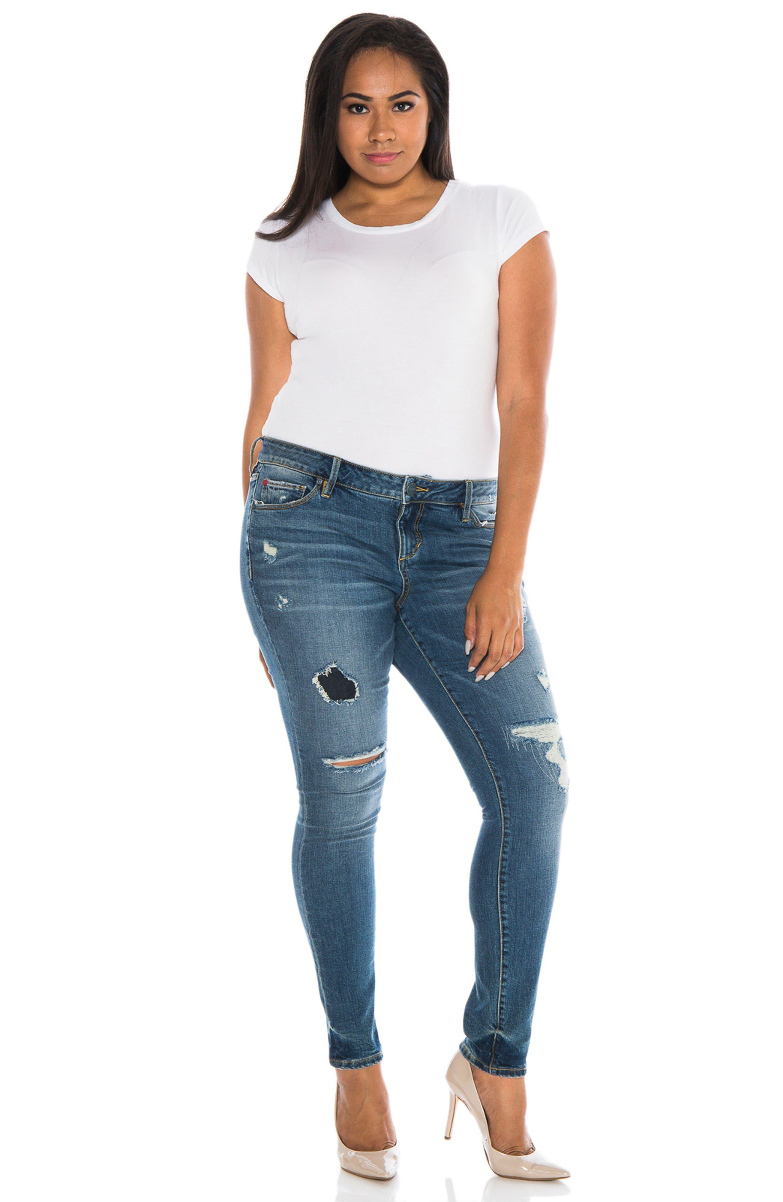 Alternate Image 2  - SLINK Jeans Ripped Skinny Jeans (Joby) (Plus Size)