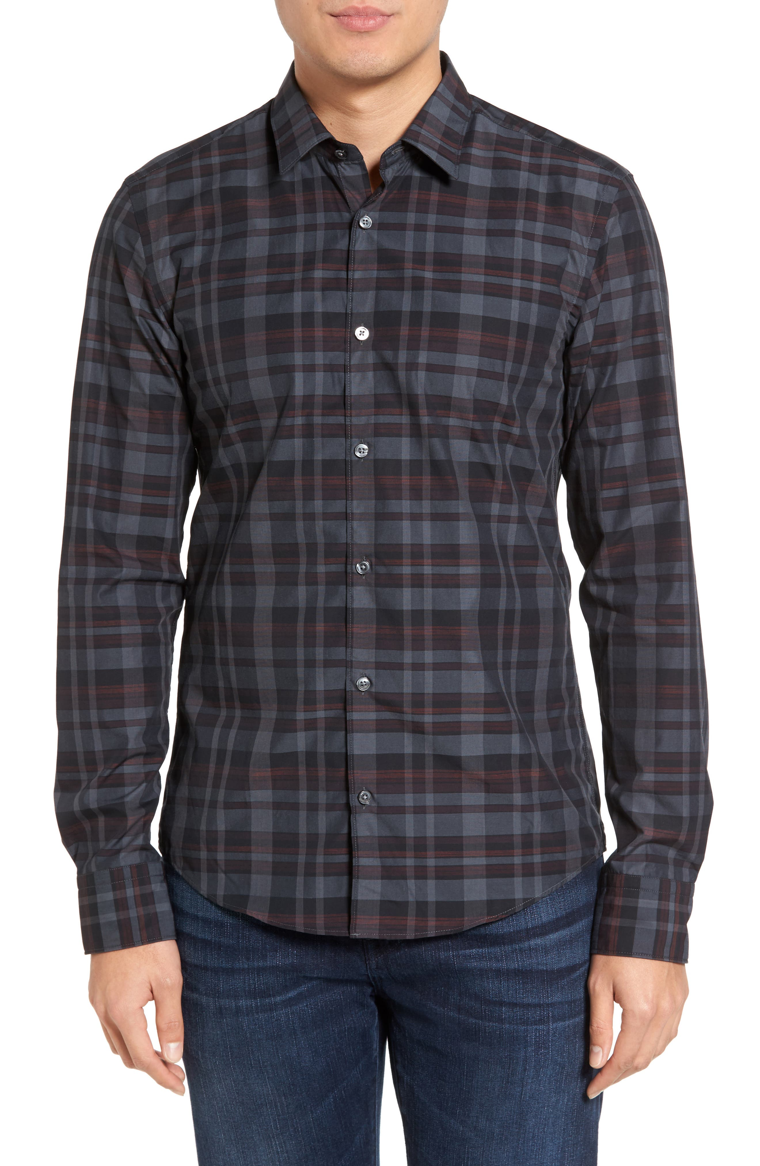 Trim Fit Check Sport Shirt,                         Main,                         color, Dark Red