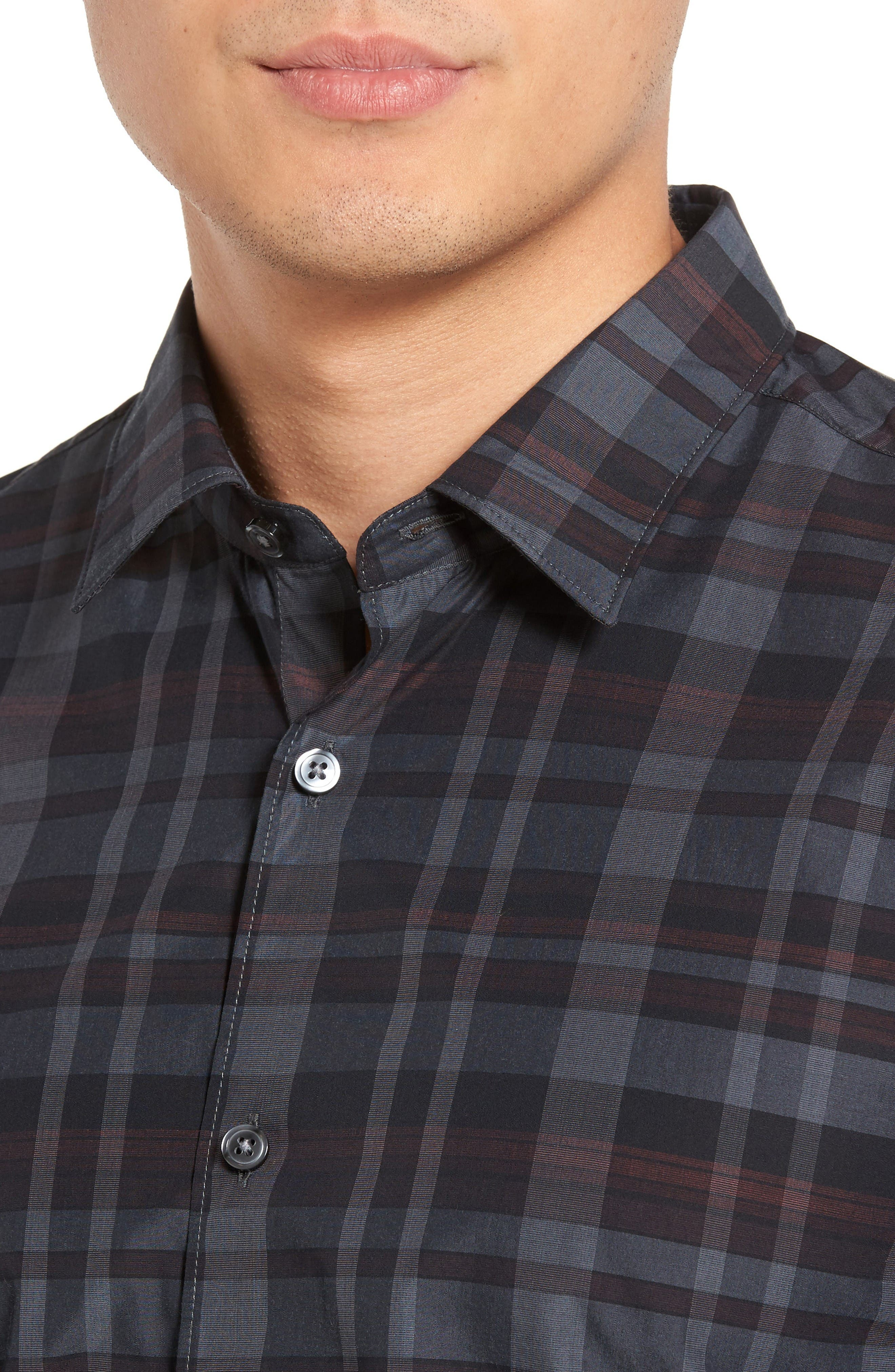 Trim Fit Check Sport Shirt,                             Alternate thumbnail 2, color,                             Dark Red