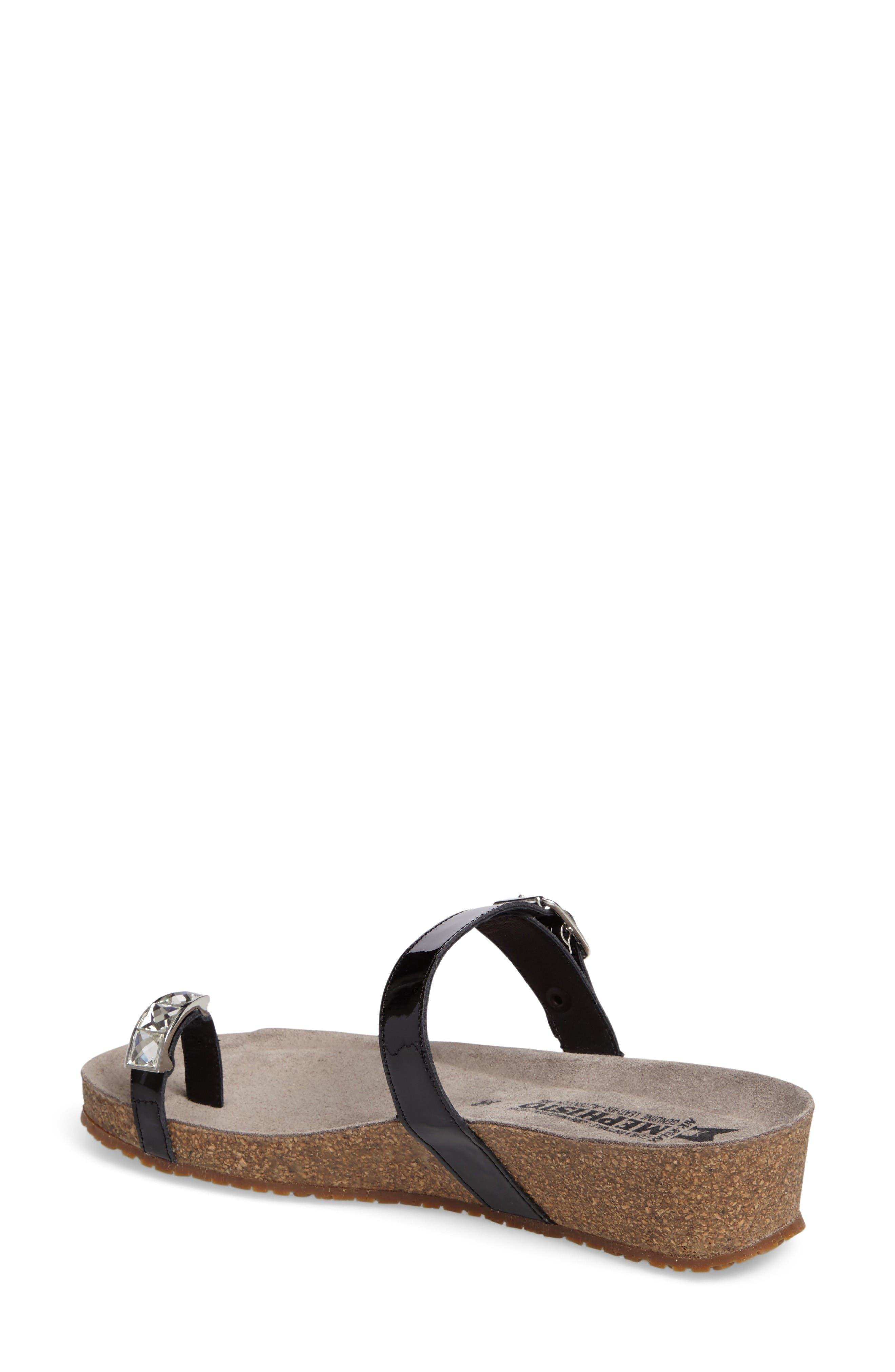 Ilaria Embellished Wedge Sandal,                             Alternate thumbnail 2, color,                             Black Patent Leather