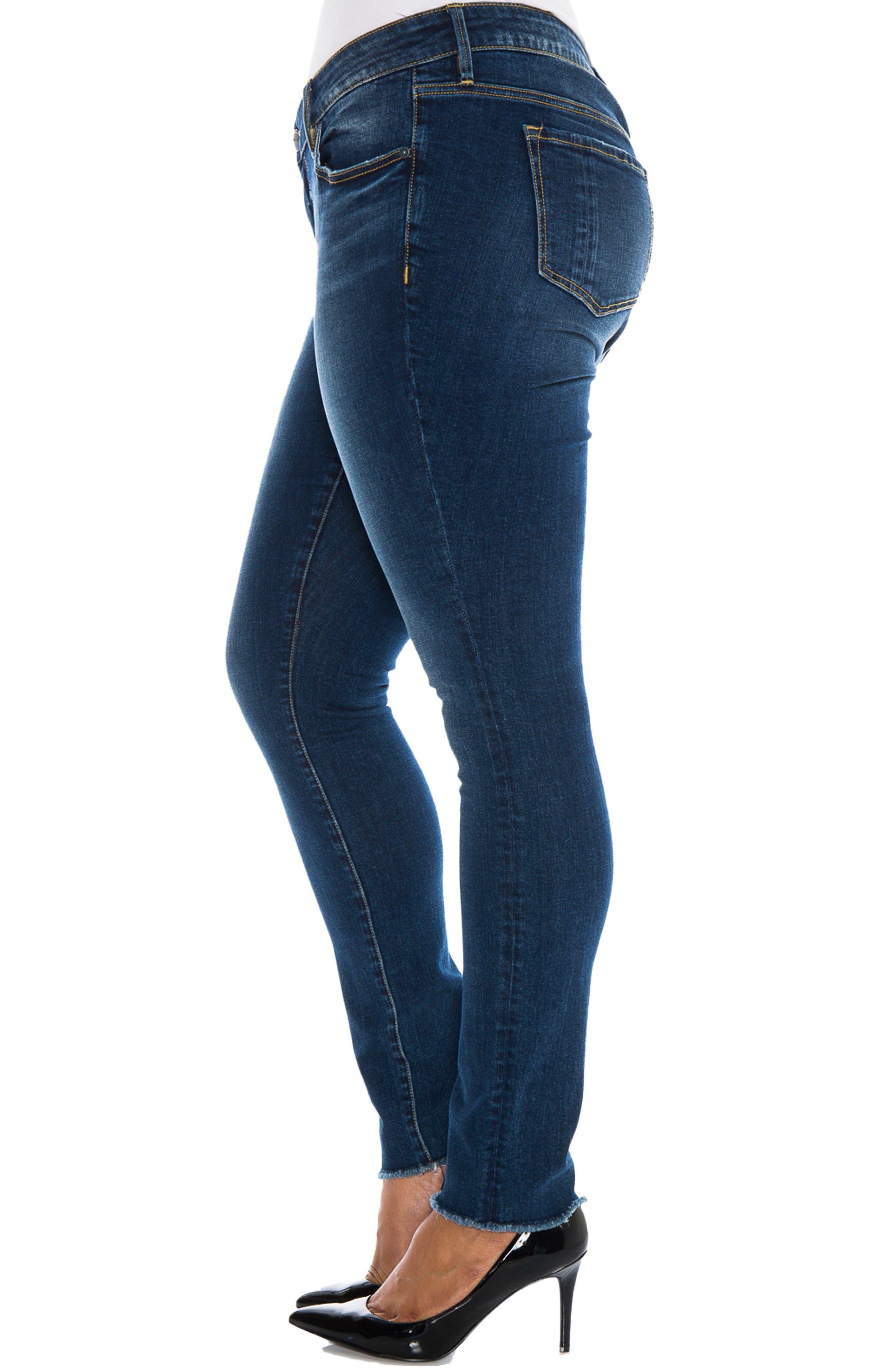 Alternate Image 3  - SLINK Jeans Raw Hem Skinny Jeans (Charvelle) (Plus Size)