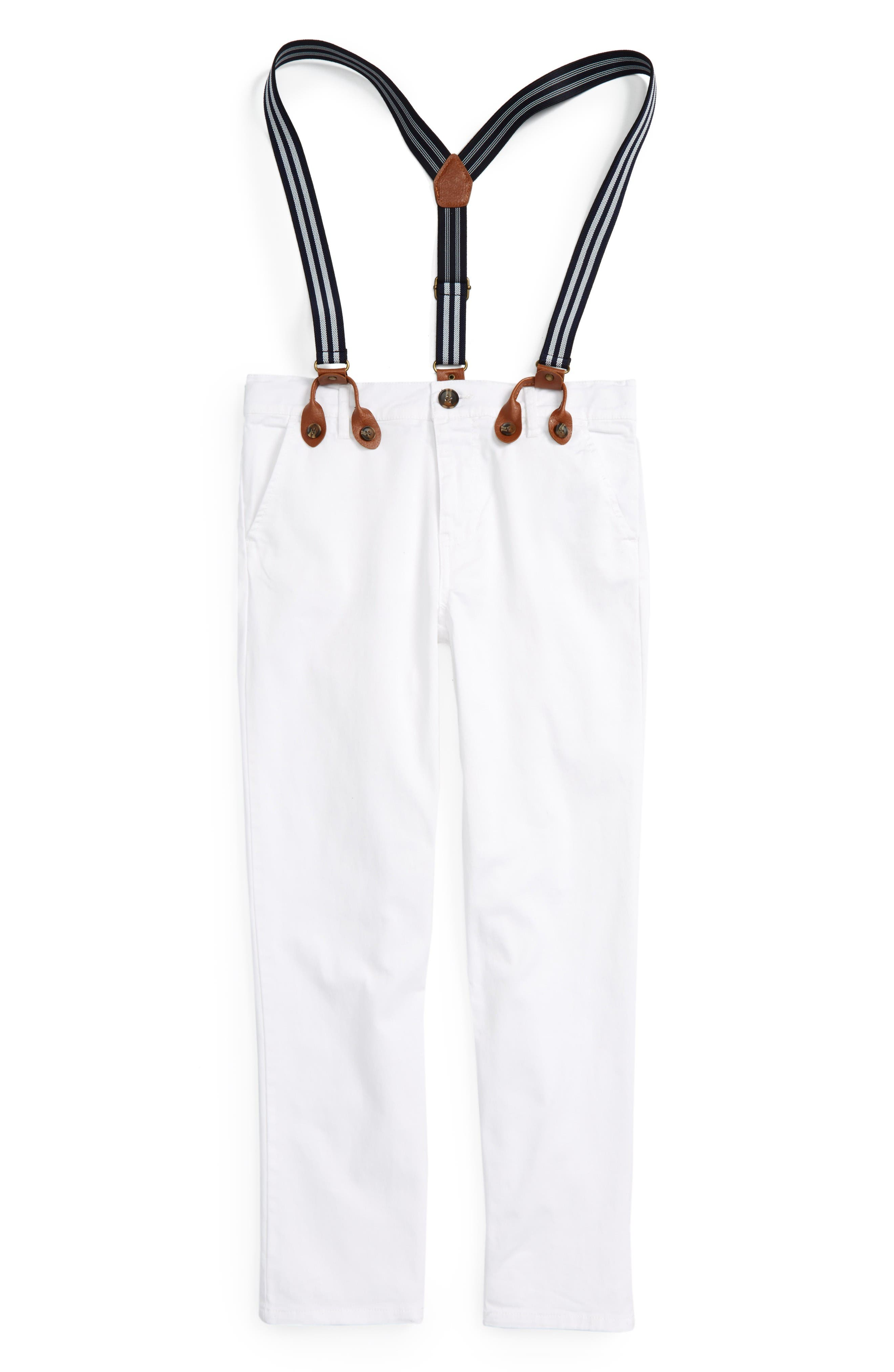 Basic Chino Pants & Suspenders,                             Main thumbnail 1, color,                             White