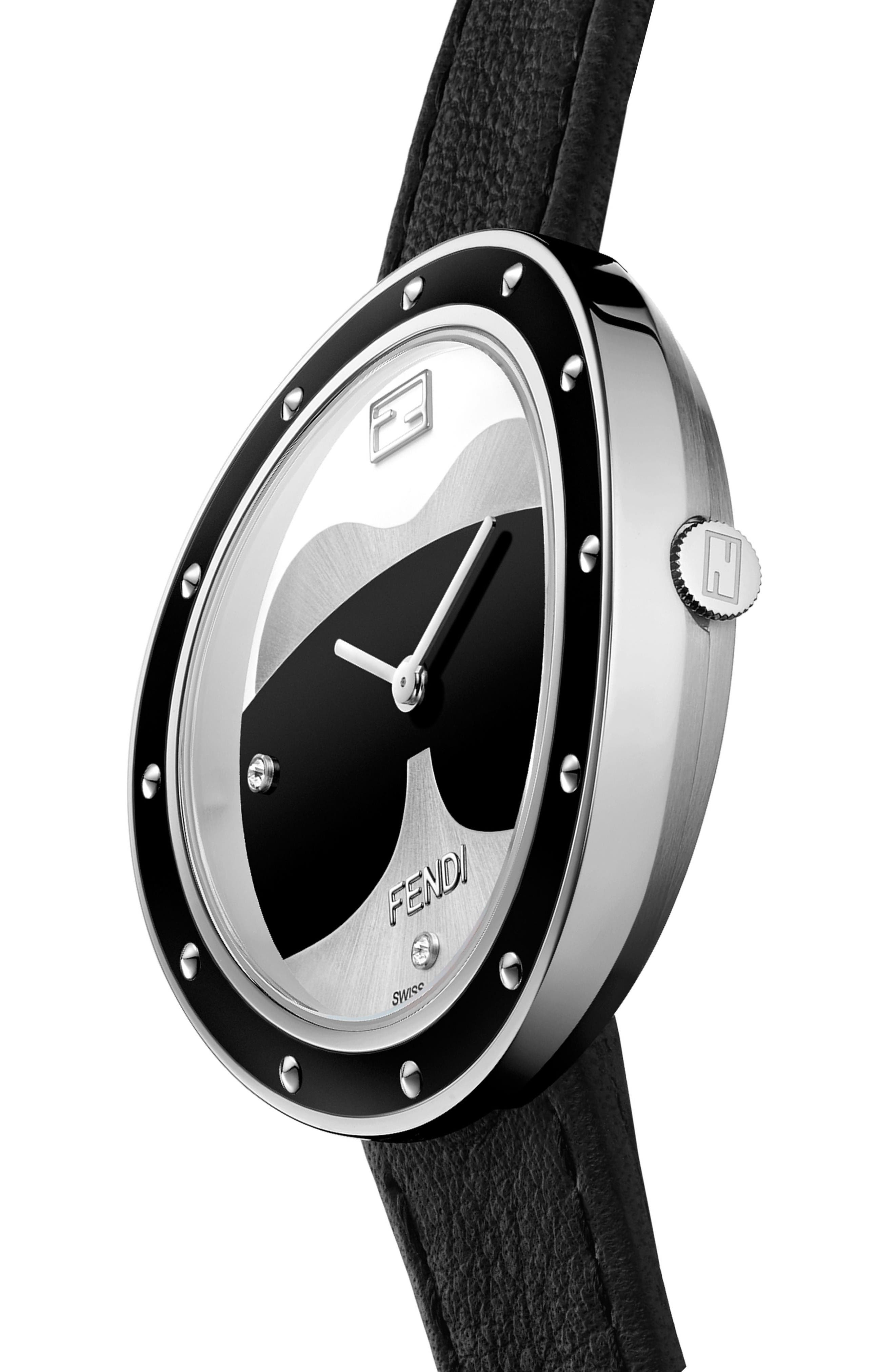 My Way Genuine Fox Fur Leather Strap Watch, 36mm,                             Alternate thumbnail 2, color,                             Black/ Silver