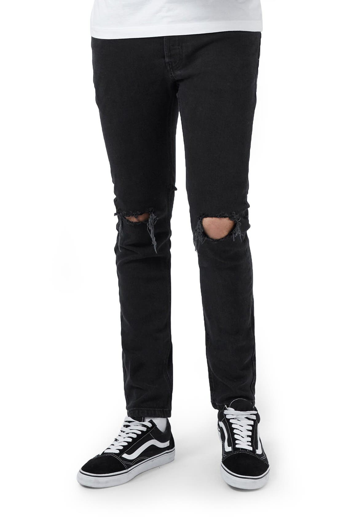 Ripped Skinny Fit Jeans,                         Main,                         color, Black