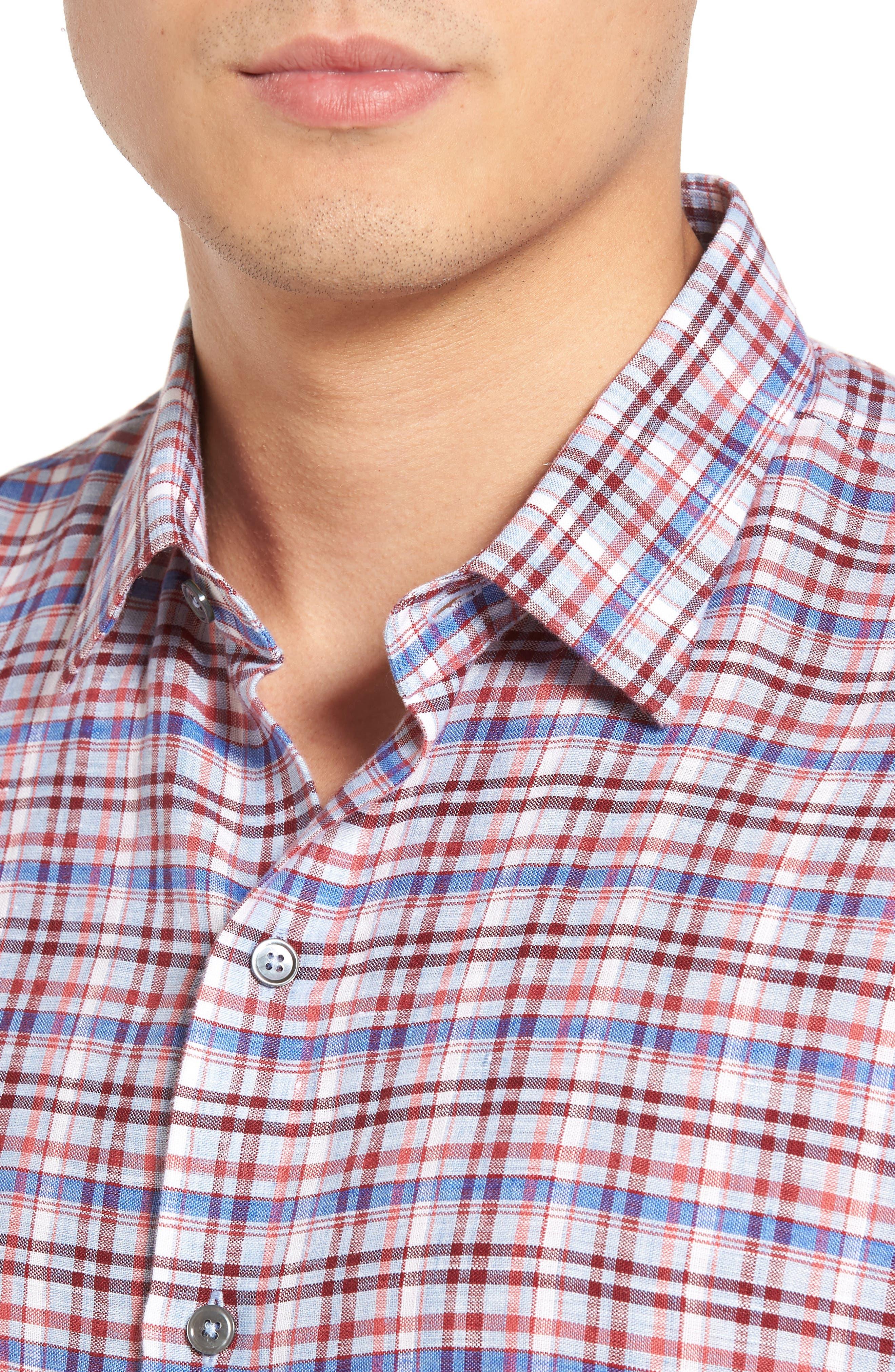 Alternate Image 4  - Zachary Prell Bean Trim Fit Plaid Linen Sport Shirt