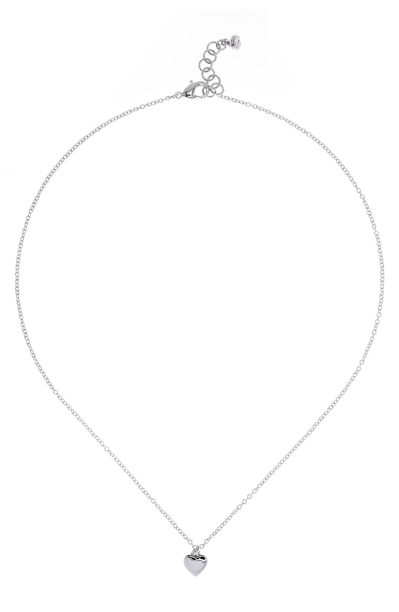 Mini Heart Pendant Necklace,                             Alternate thumbnail 2, color,                             Silver Color