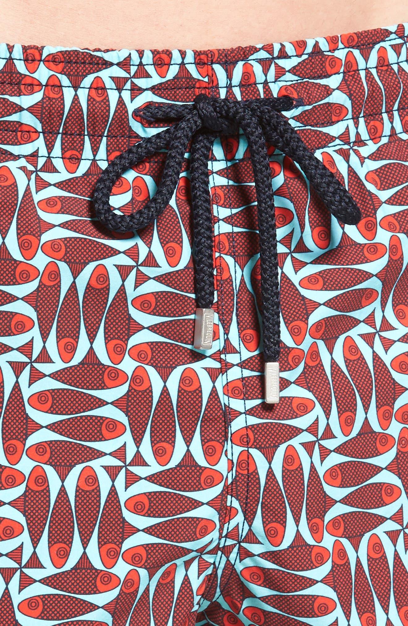 Check Fish Print Swim Trunks,                             Alternate thumbnail 4, color,                             Poppy Red