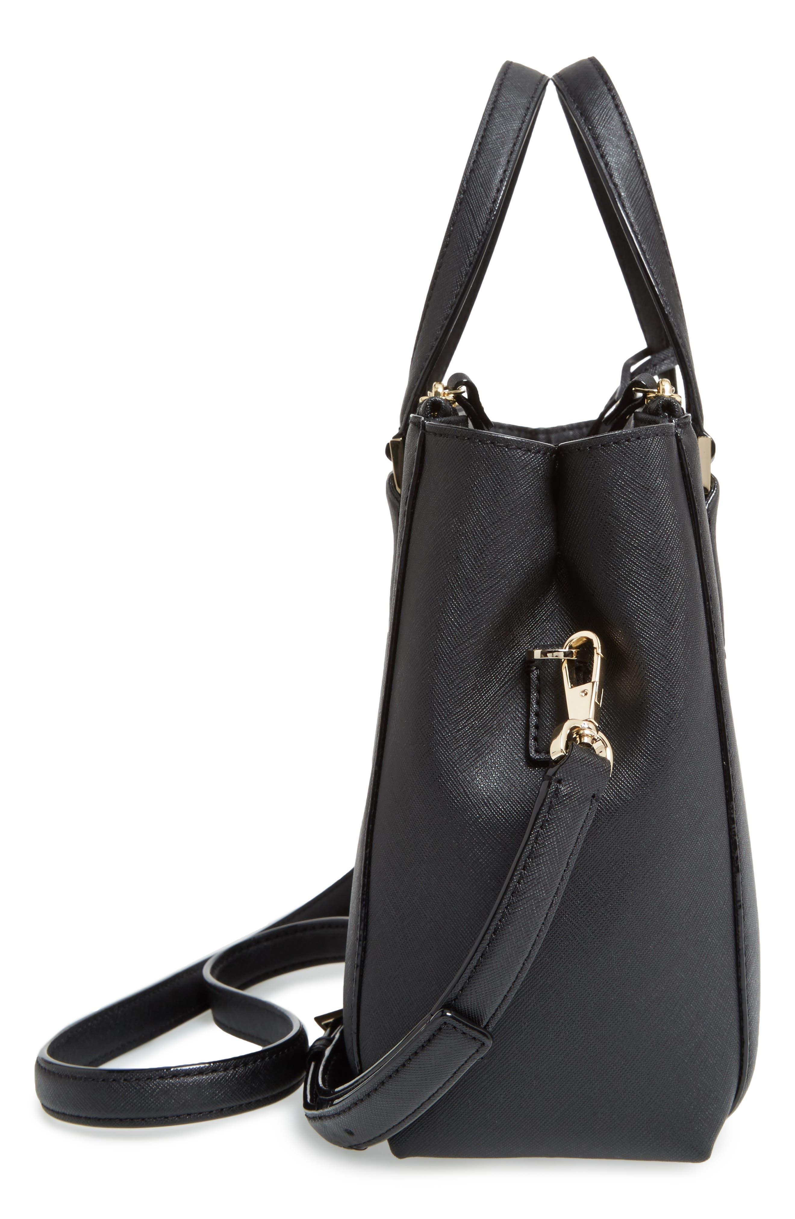 cameron street - teegan calfskin leather satchel,                             Alternate thumbnail 5, color,                             Black