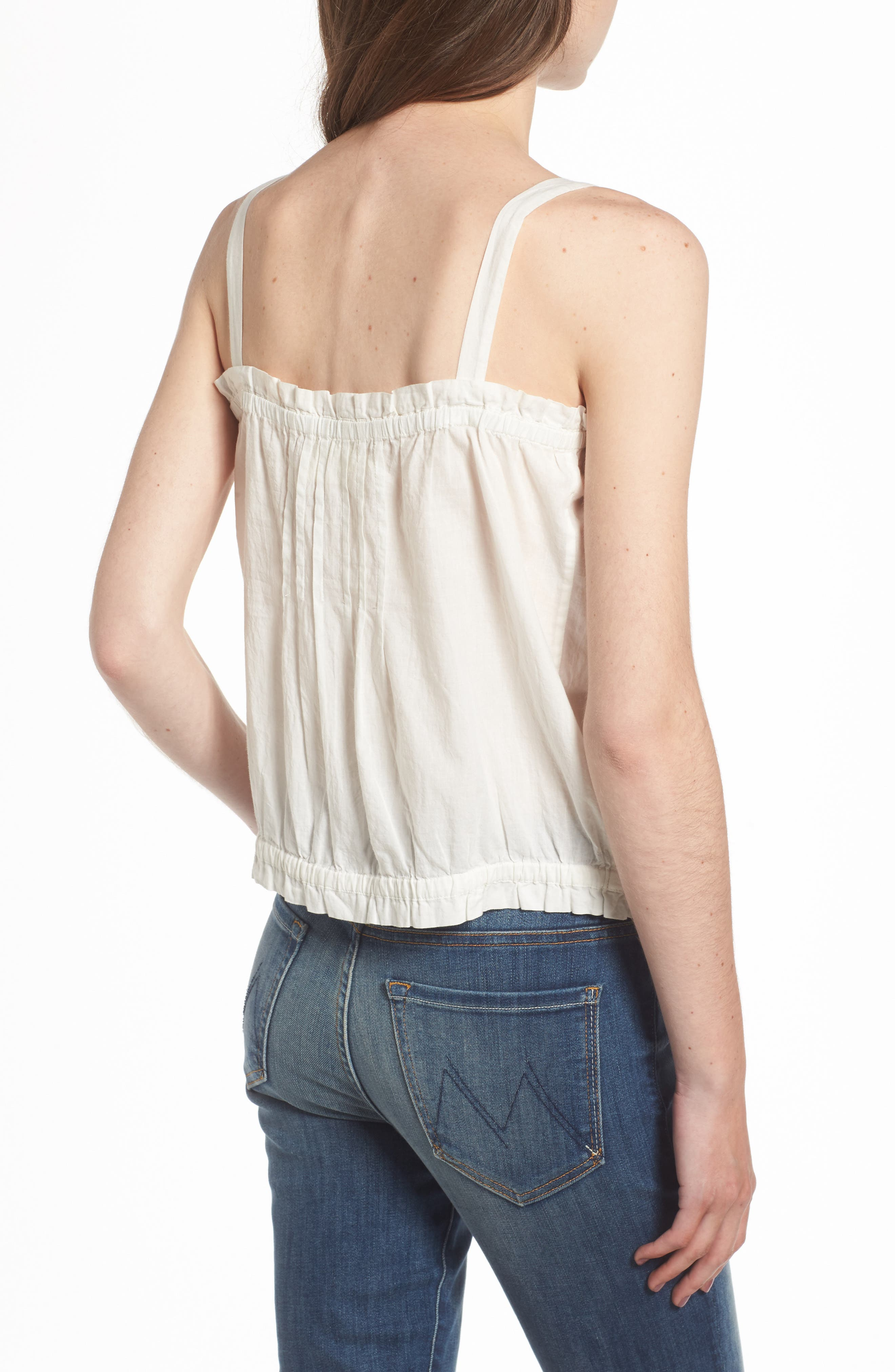 The Lace Cotton Tank,                             Alternate thumbnail 3, color,                             Star White