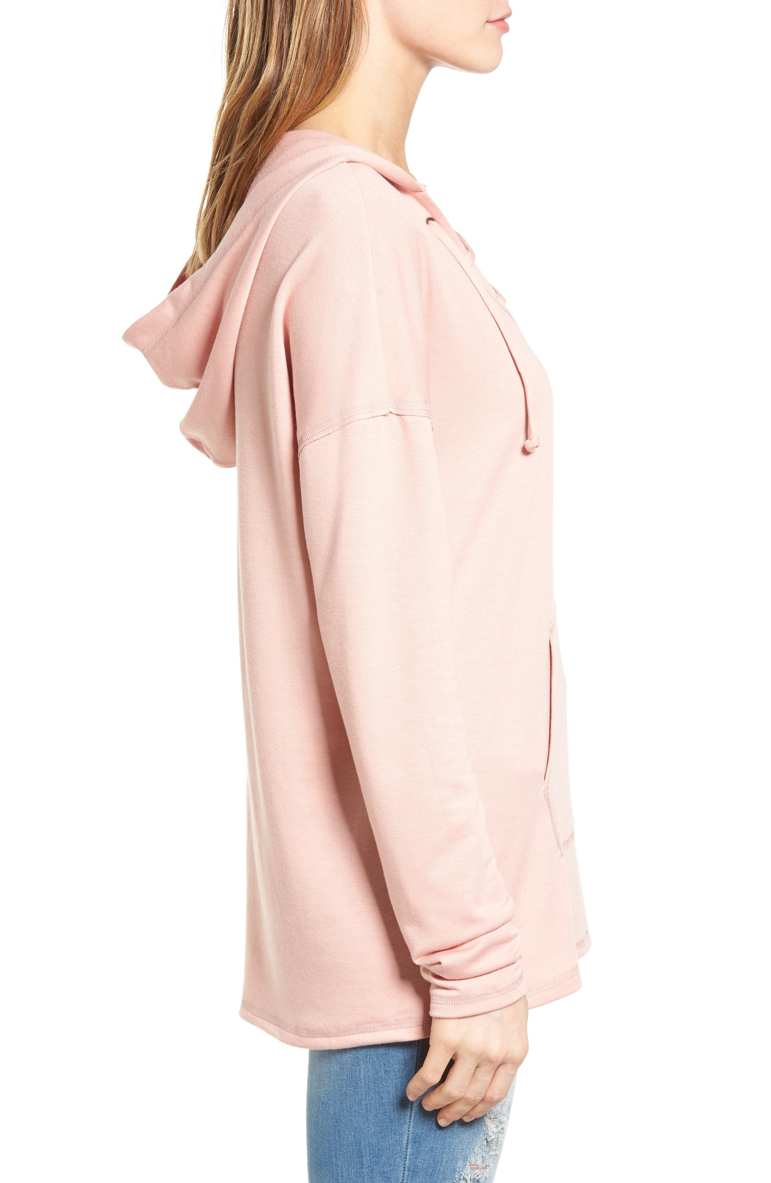 Alternate Image 3  - Caslon® Lace-Up Hooded Sweatshirt (Regular & Petite)