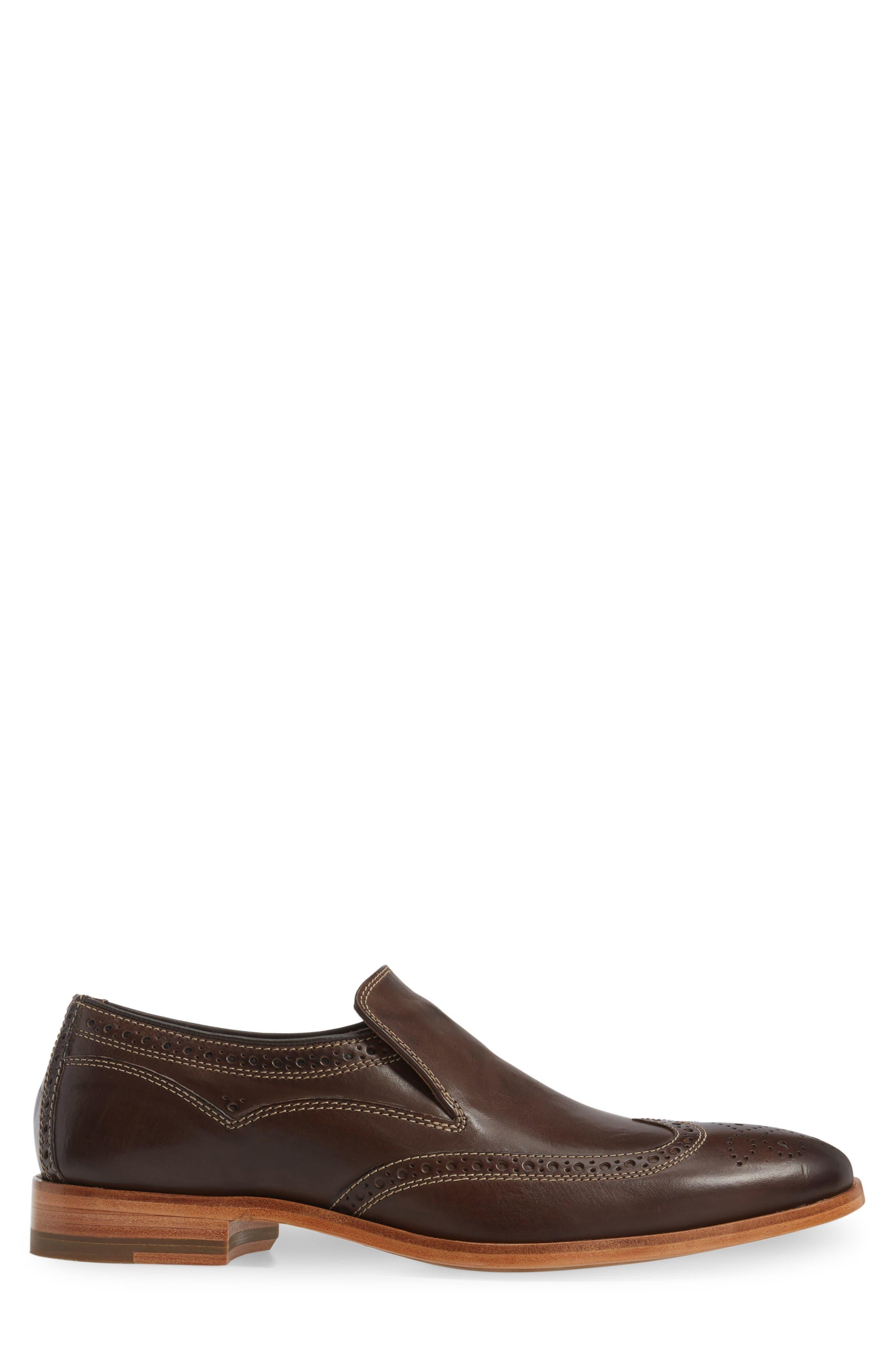 Graham Wingtip Loafer,                             Alternate thumbnail 3, color,                             Dark Brown Calfskin Leather