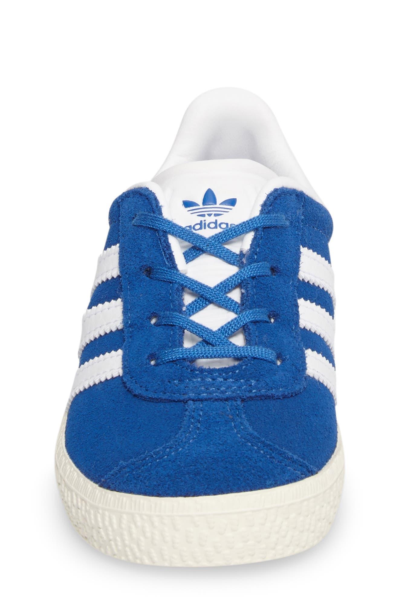 Gazelle Sneaker,                             Alternate thumbnail 4, color,                             Blue/ White/ Gold Metallic