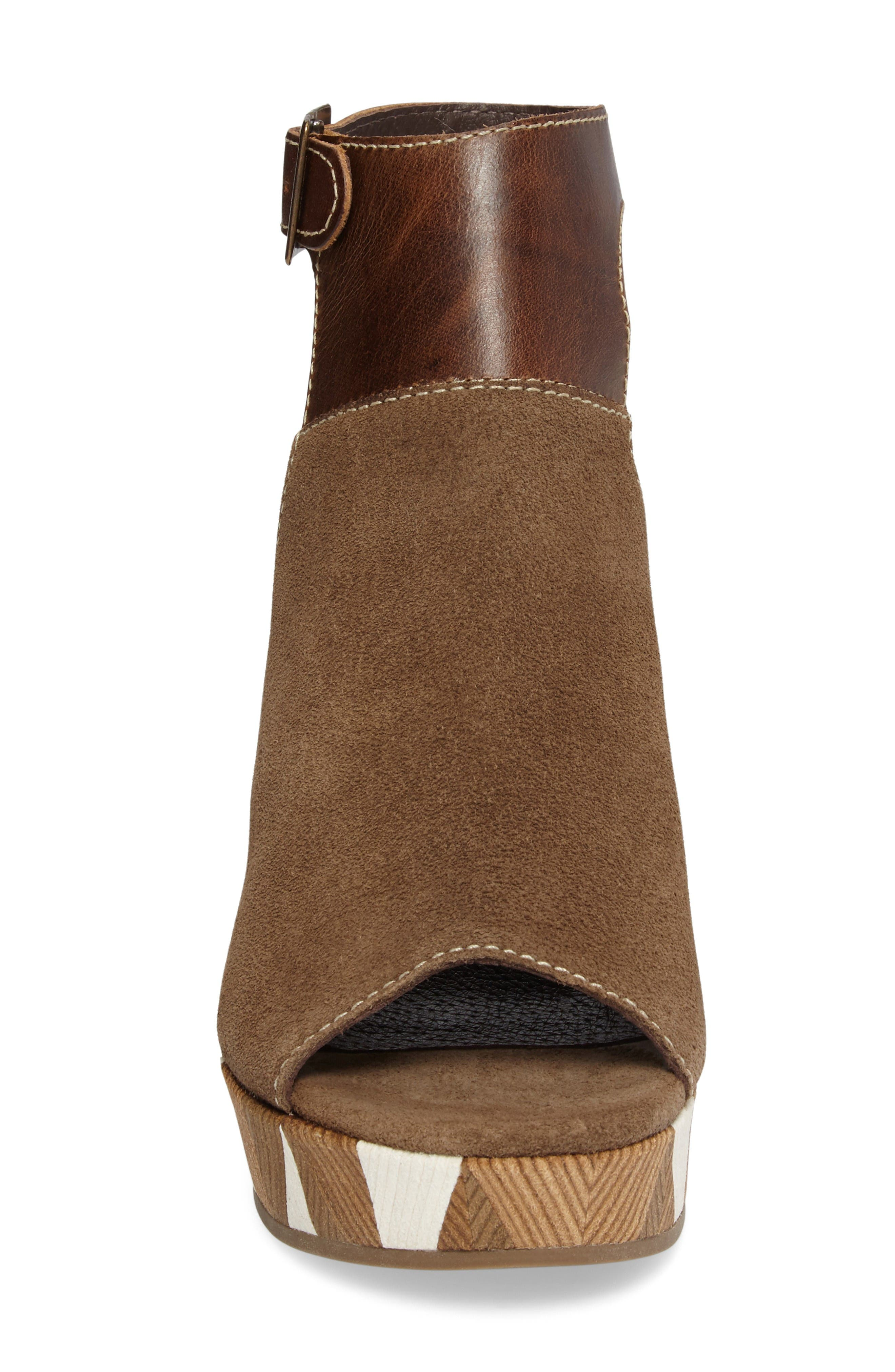 Harlequin Wedge Sandal,                             Alternate thumbnail 3, color,                             Taupe Leather