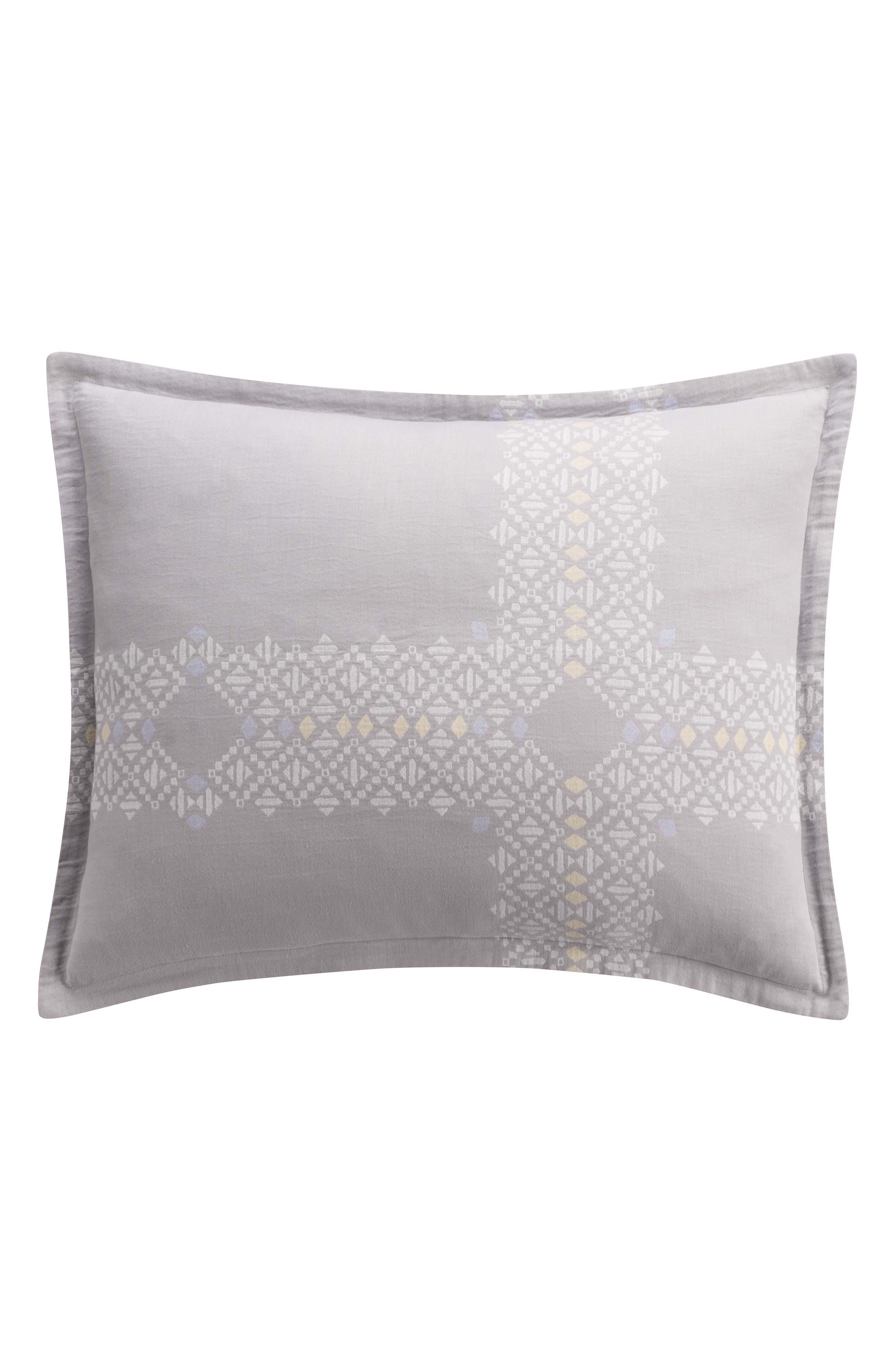 Geometric Jacquard Sham,                         Main,                         color, Grey