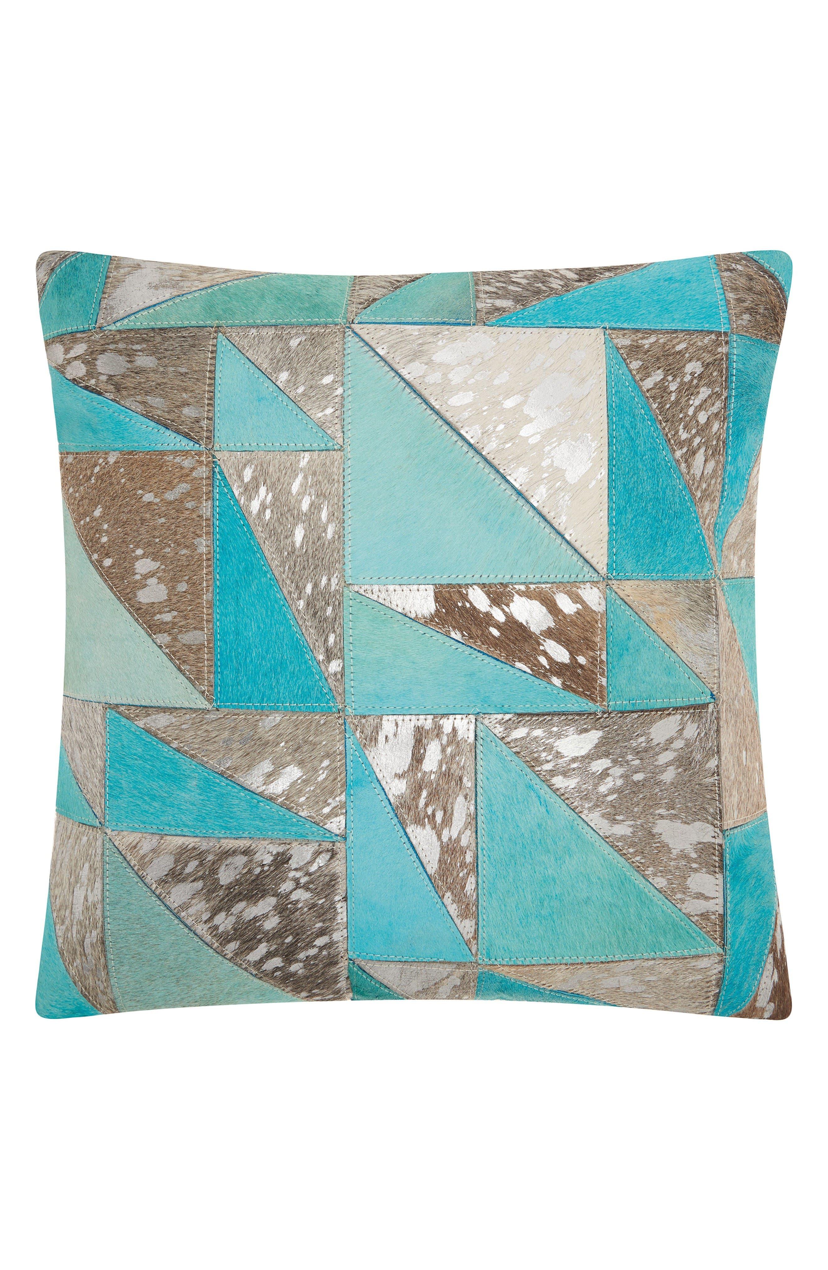 Metallic Calf Hair Accent Pillow,                         Main,                         color, Aqua/ Silver