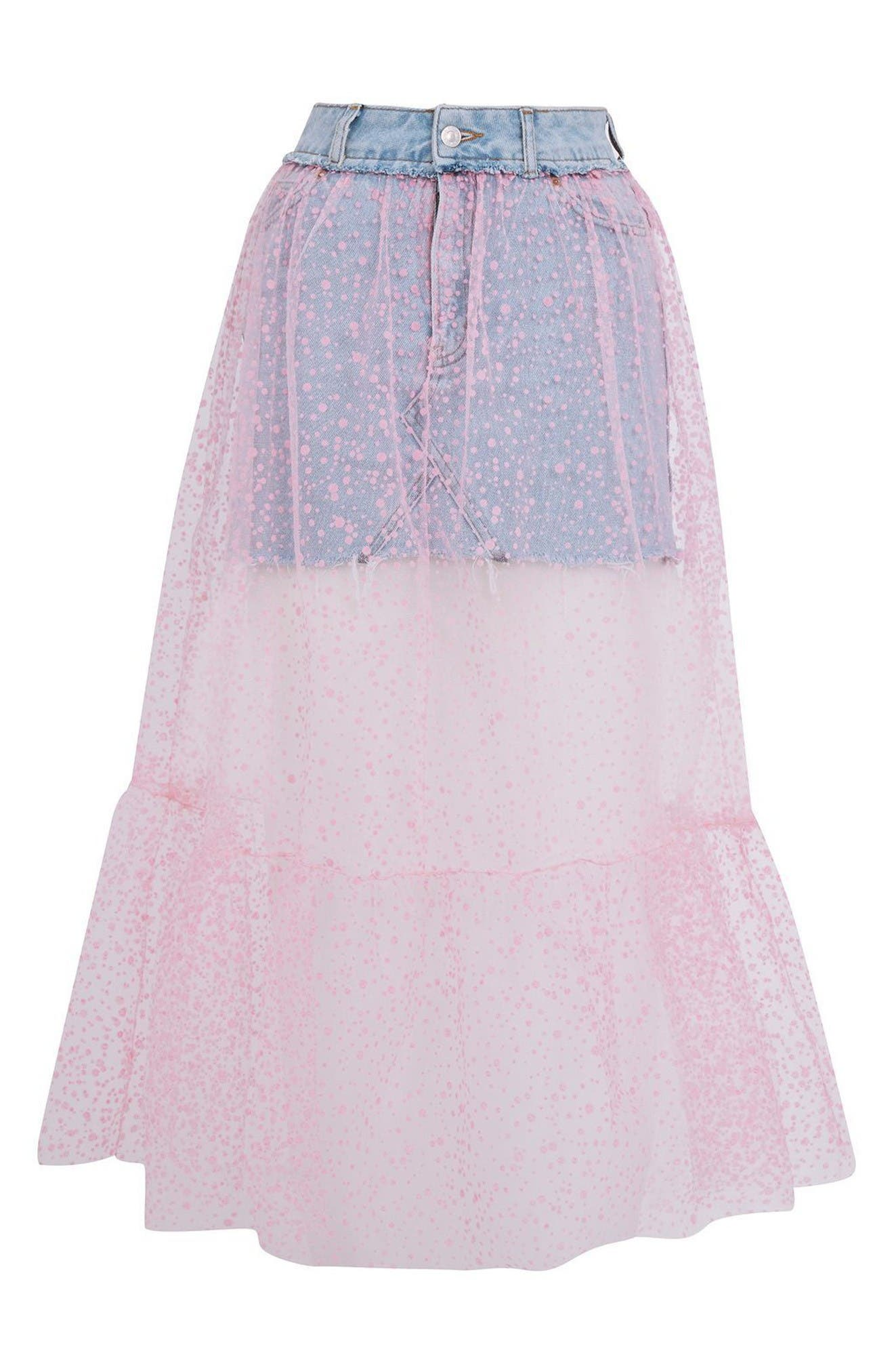 Alternate Image 4  - Topshop Tulle Overlay Denim Skirt