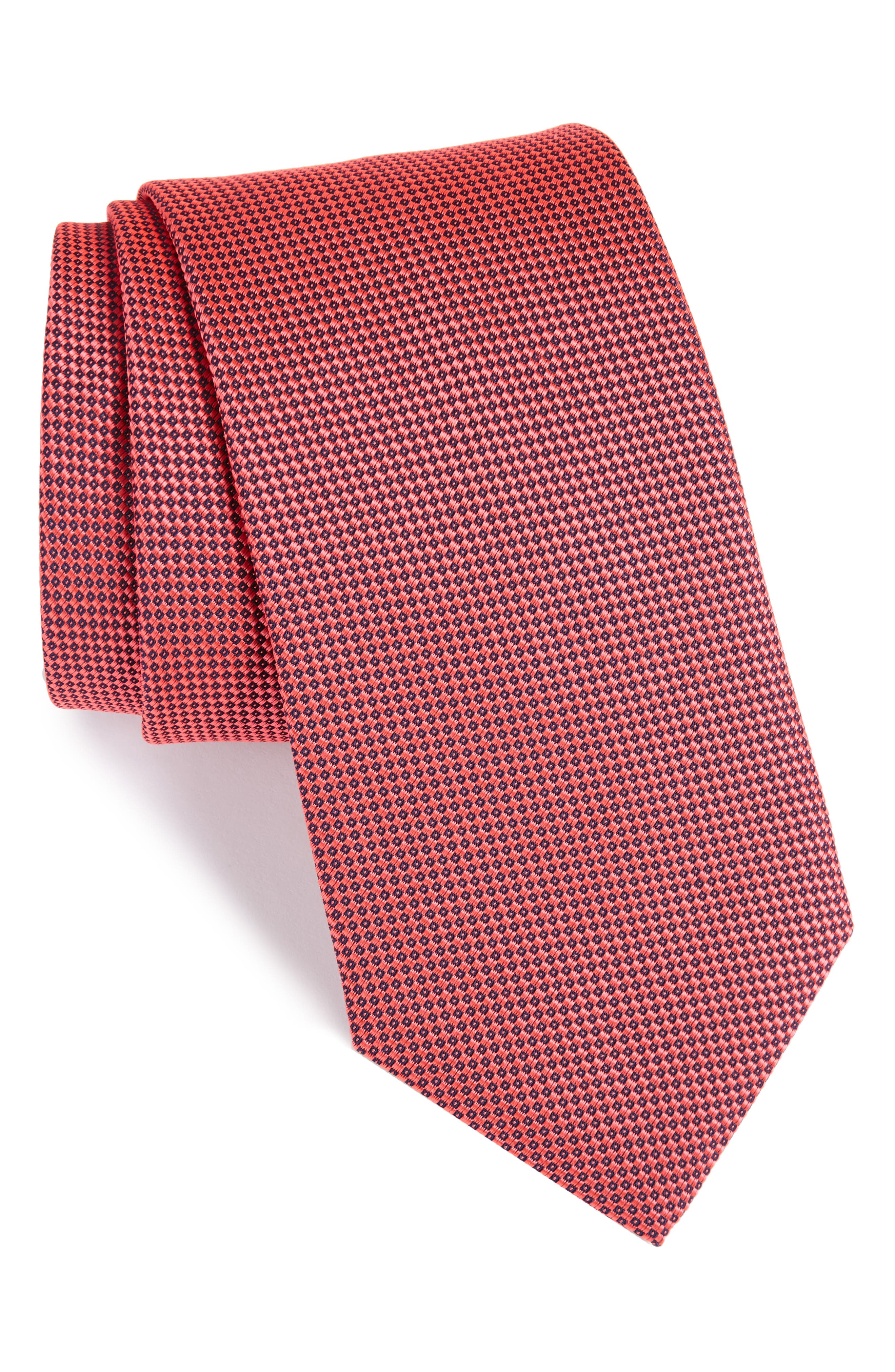 Solid Silk Tie,                         Main,                         color, Pink/ Red