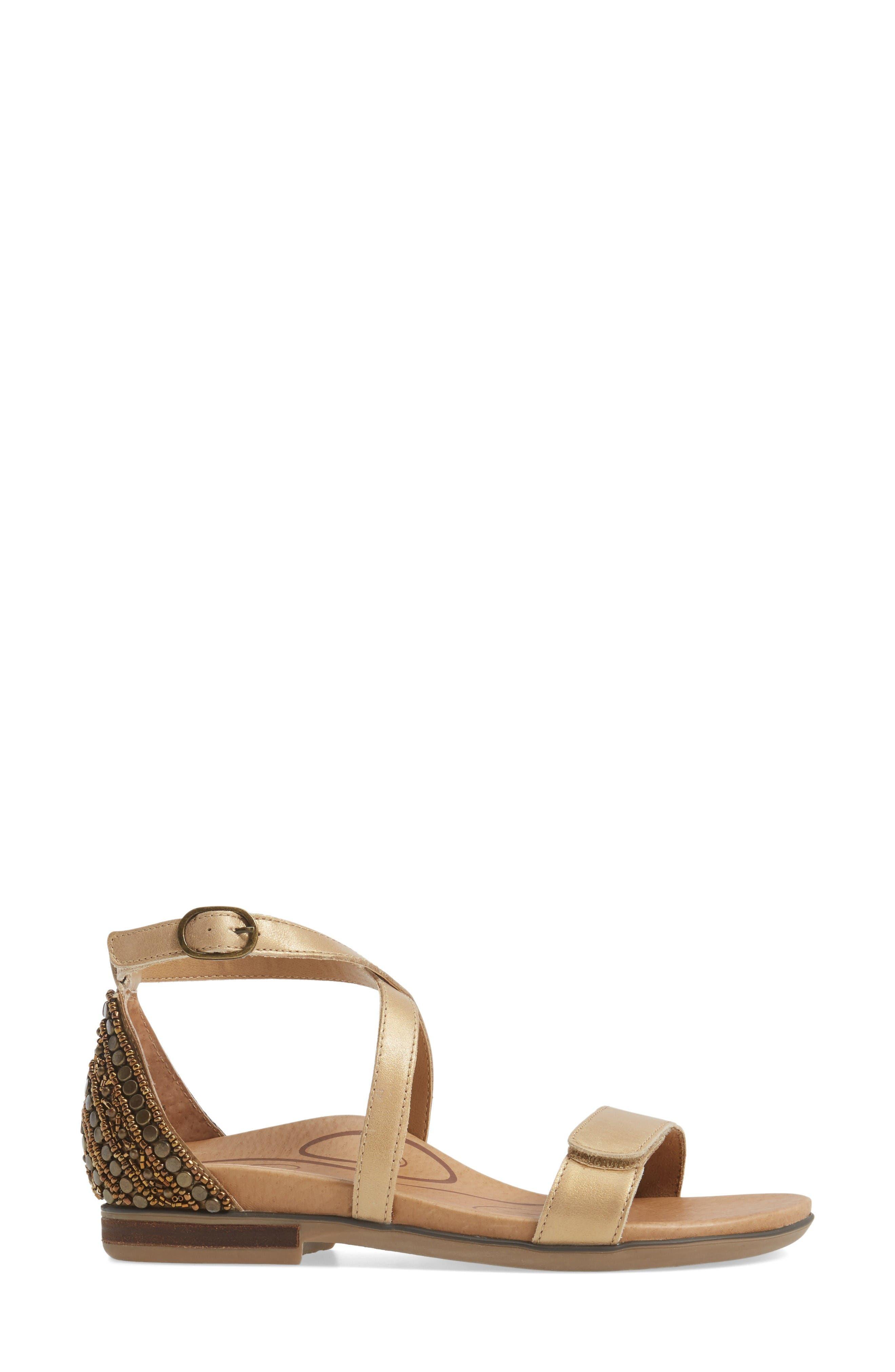 Brenda Embellished Cross Strap Sandal,                             Alternate thumbnail 3, color,                             Stone Leather