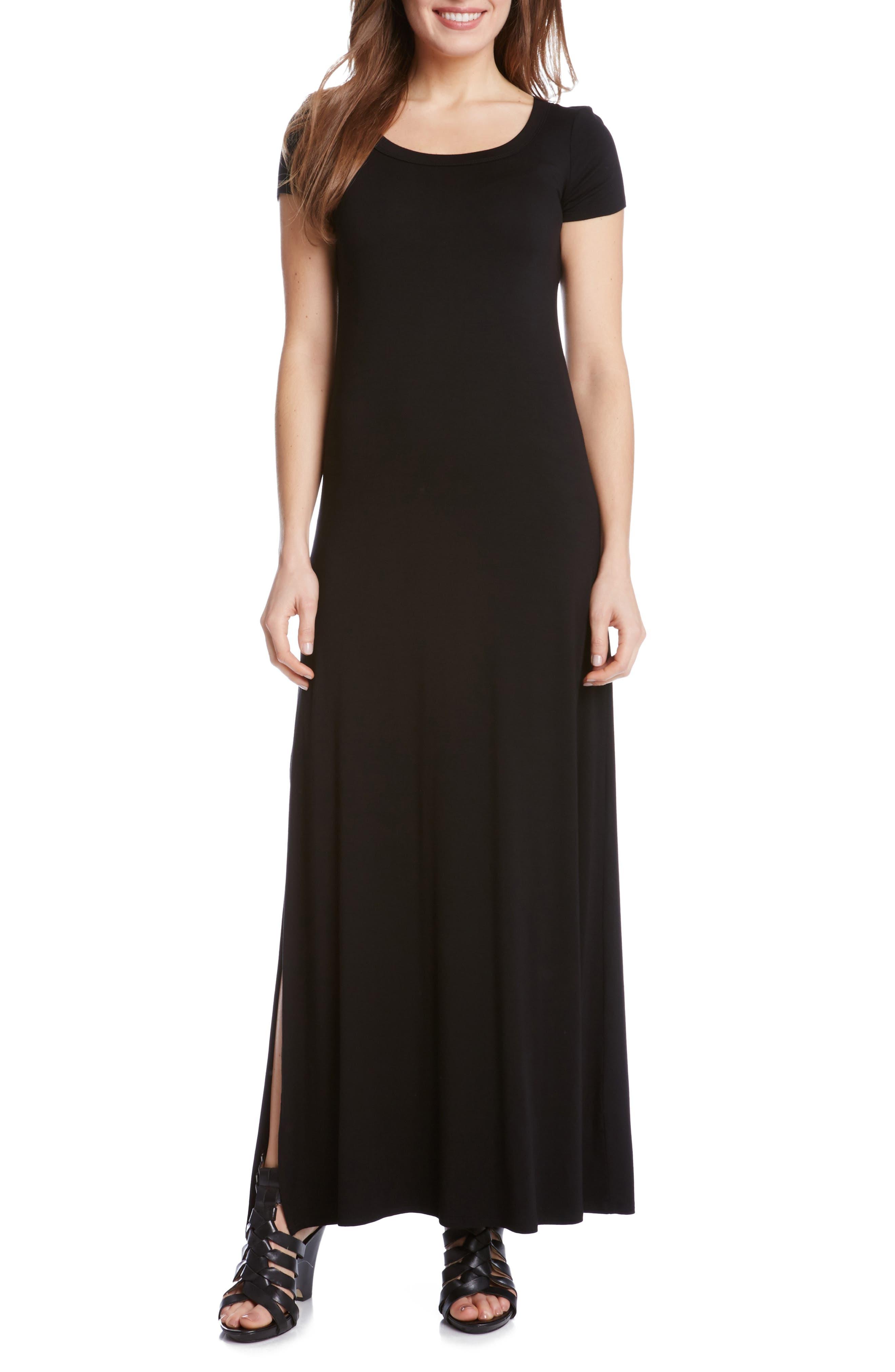 Cap Sleeve Jersey Maxi Dress,                         Main,                         color, Black