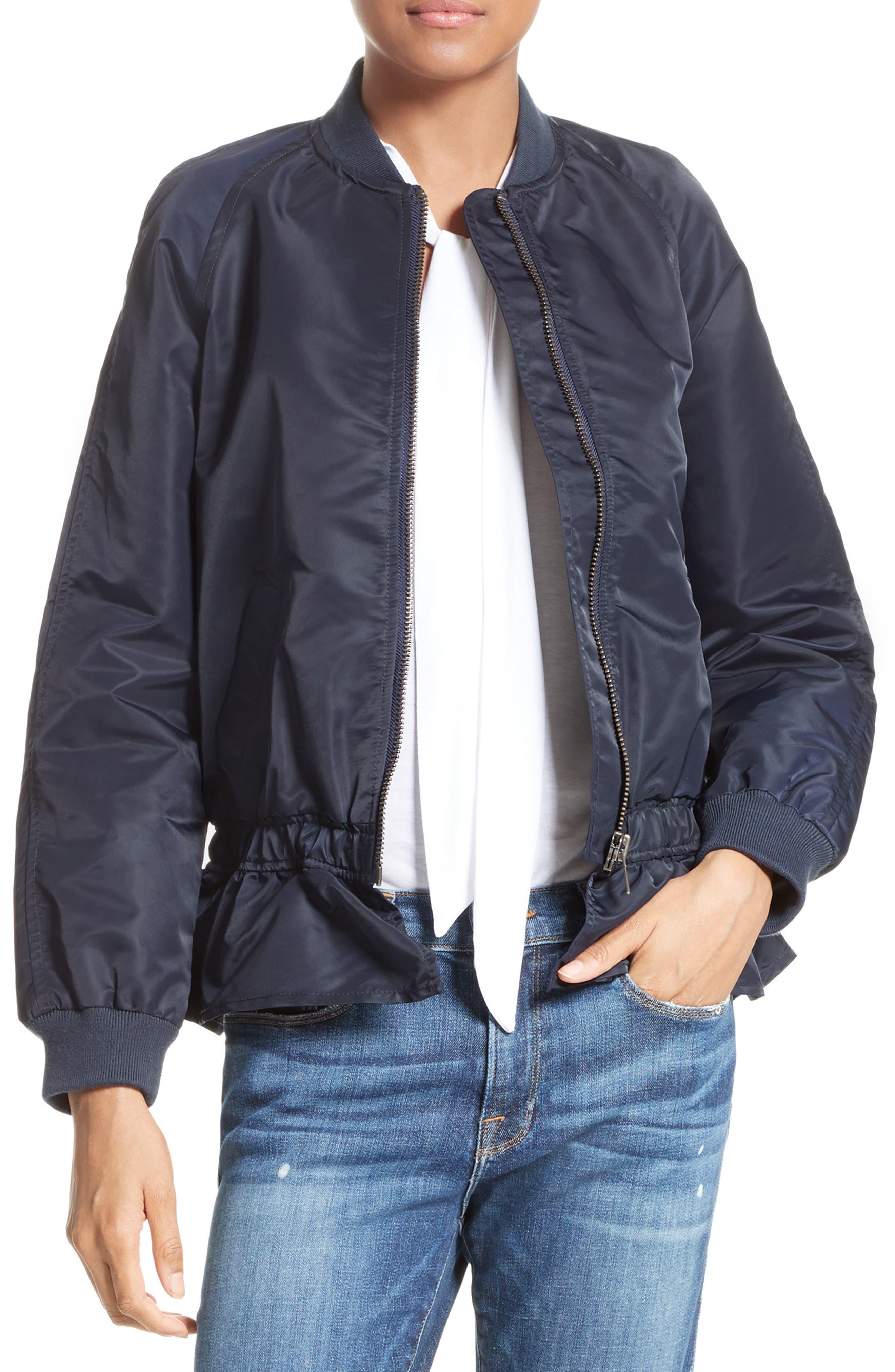 Ruffle Bomber Jacket,                         Main,                         color, Navy