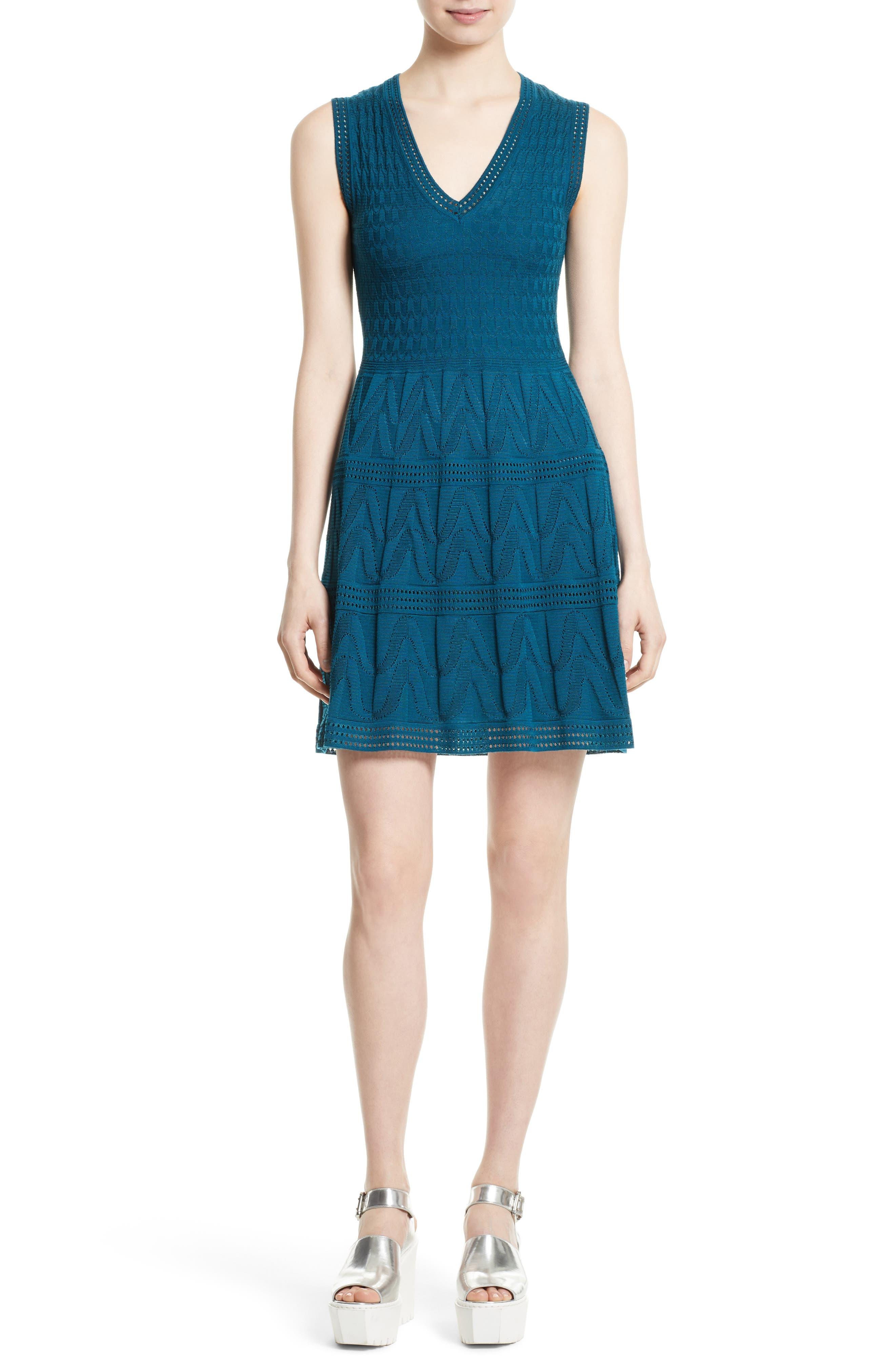 M MISSONI Knit Fit & Flare Dress