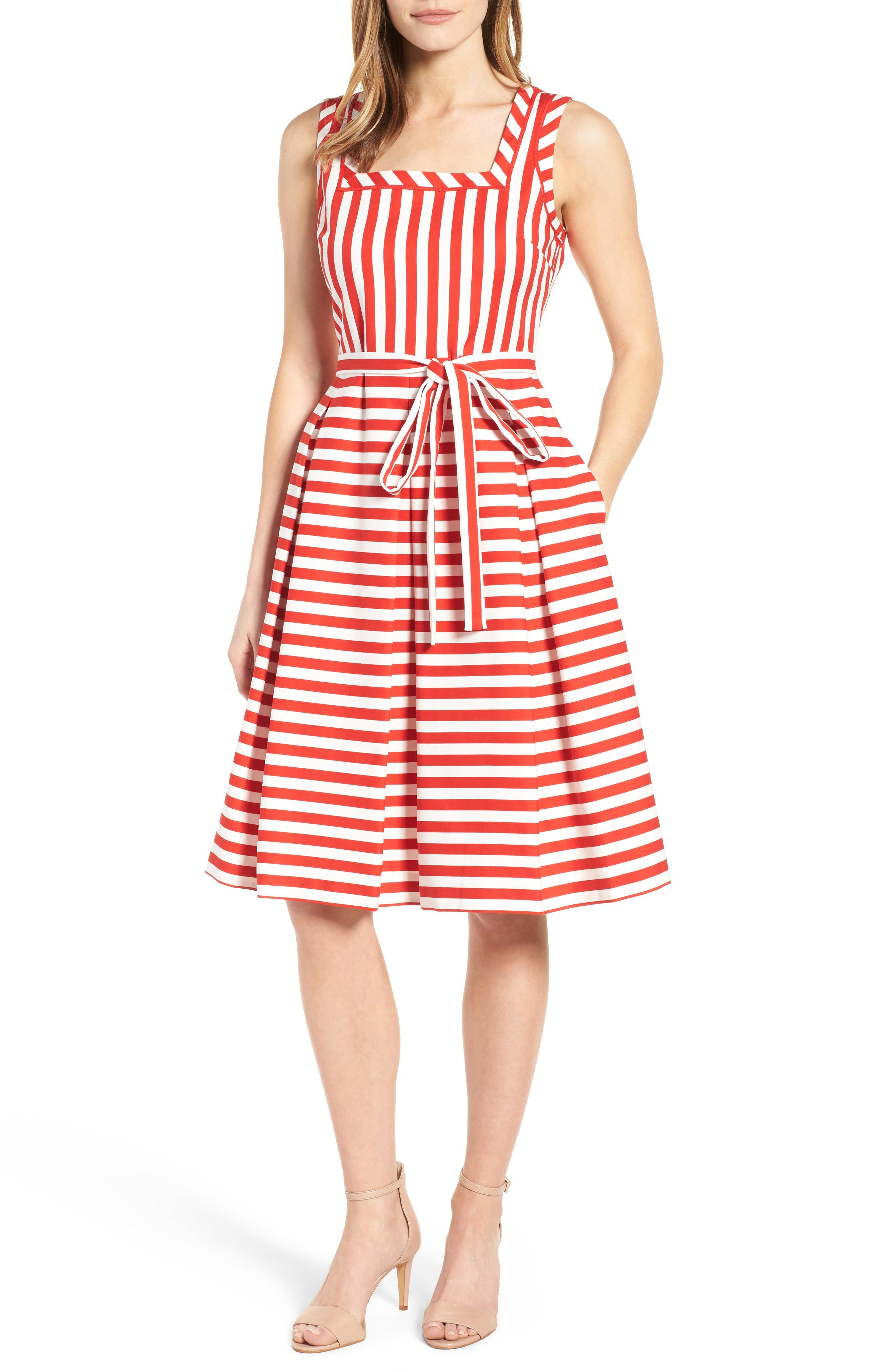 Alternate Image 1 Selected - Anne Klein Stripe Fit & Flare Dress