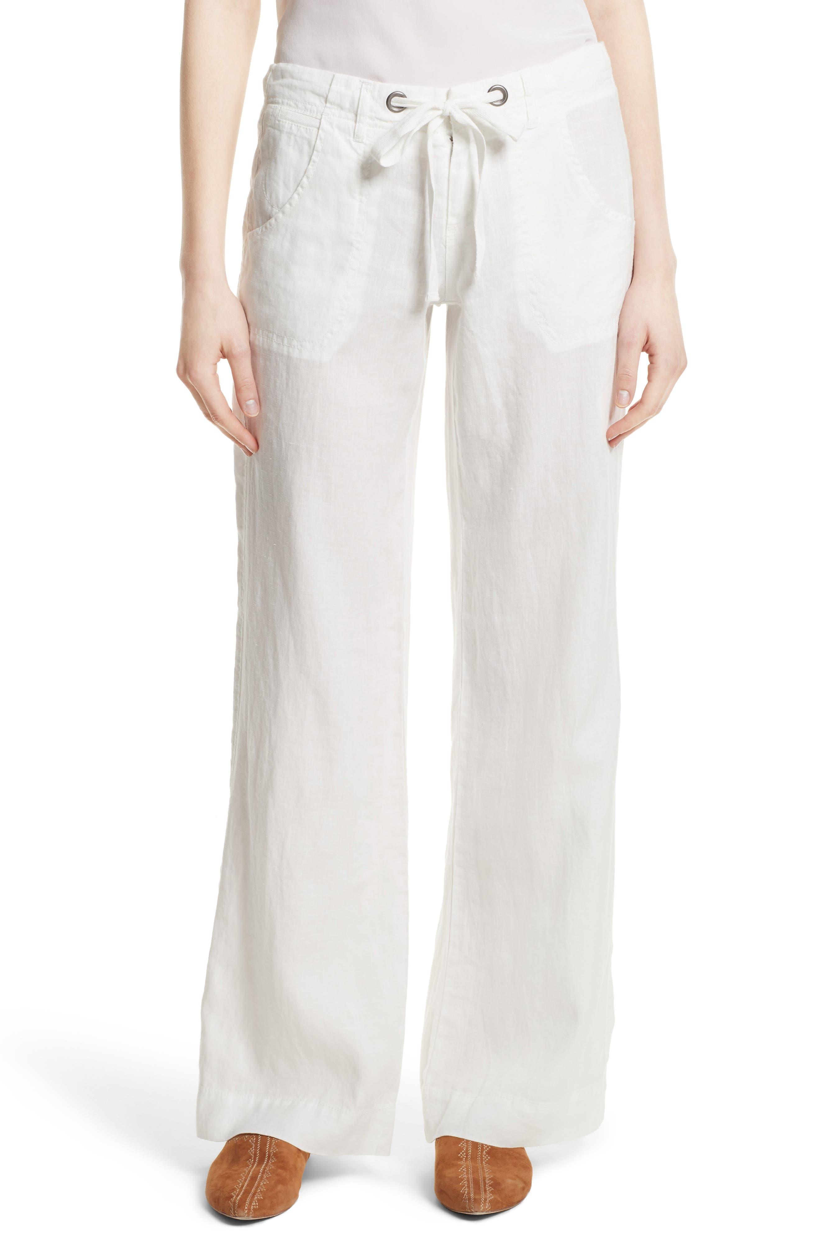 Wide Leg Linen Pants,                         Main,                         color, Porcelain