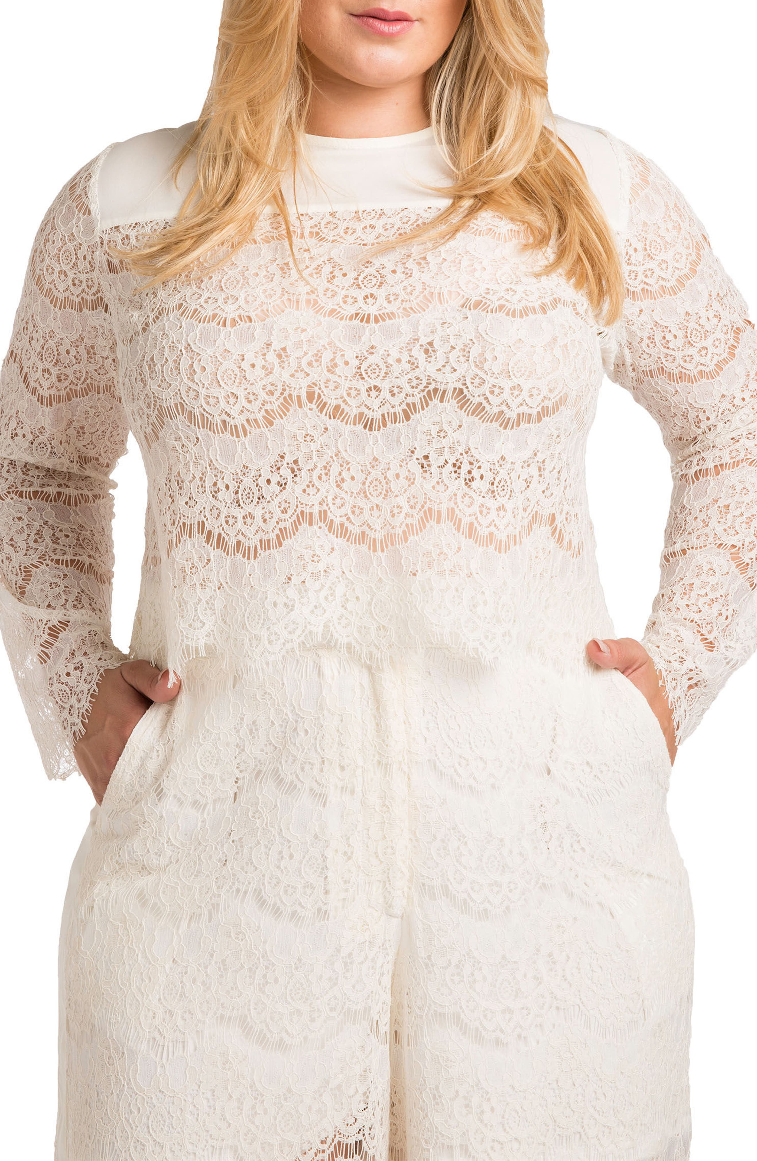 Standards & Practices Sydney Lace Skimmer Top (Plus Size)