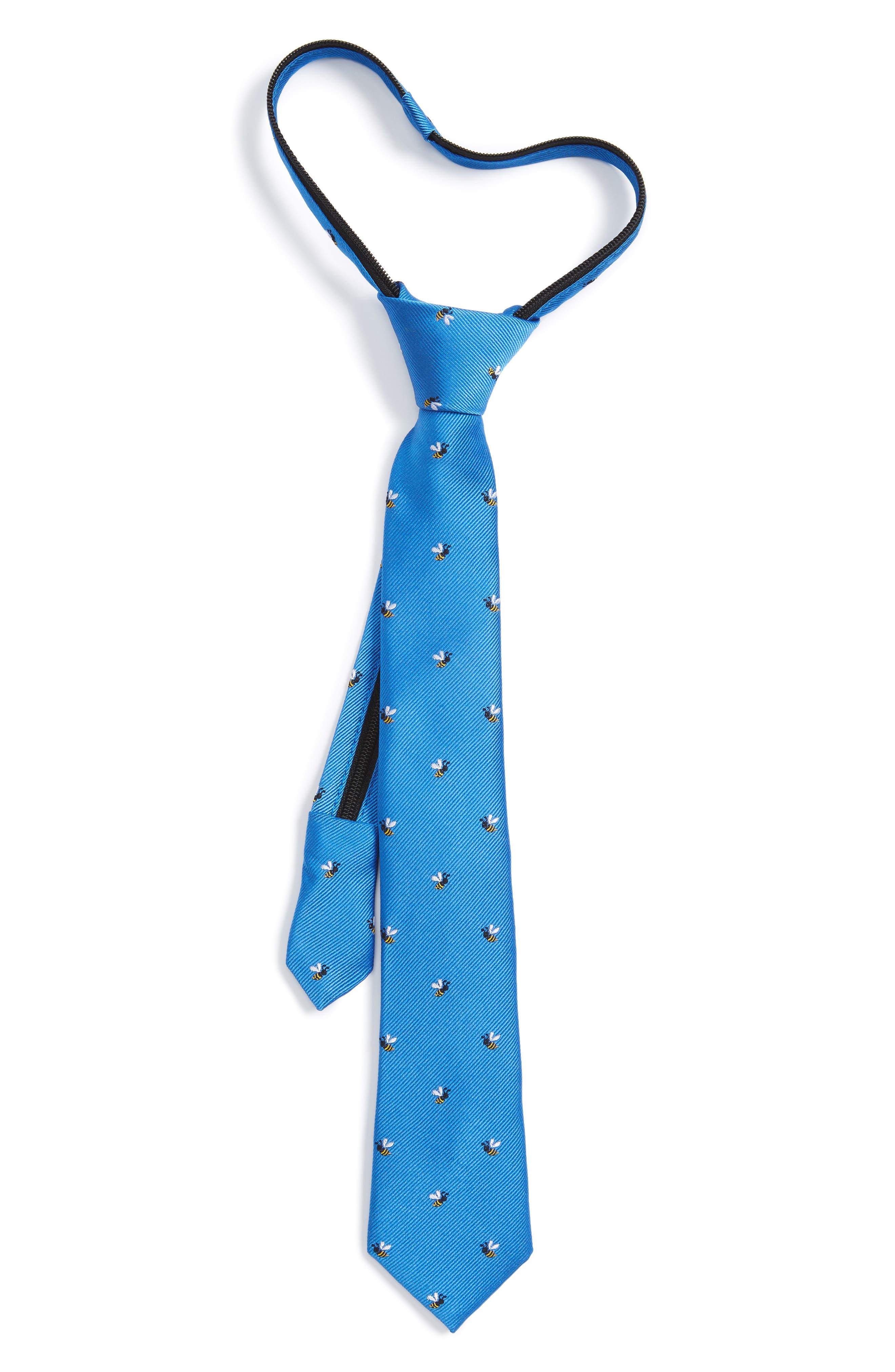 Nordstrom Ship Print Silk Zipper Tie (Big Boys)