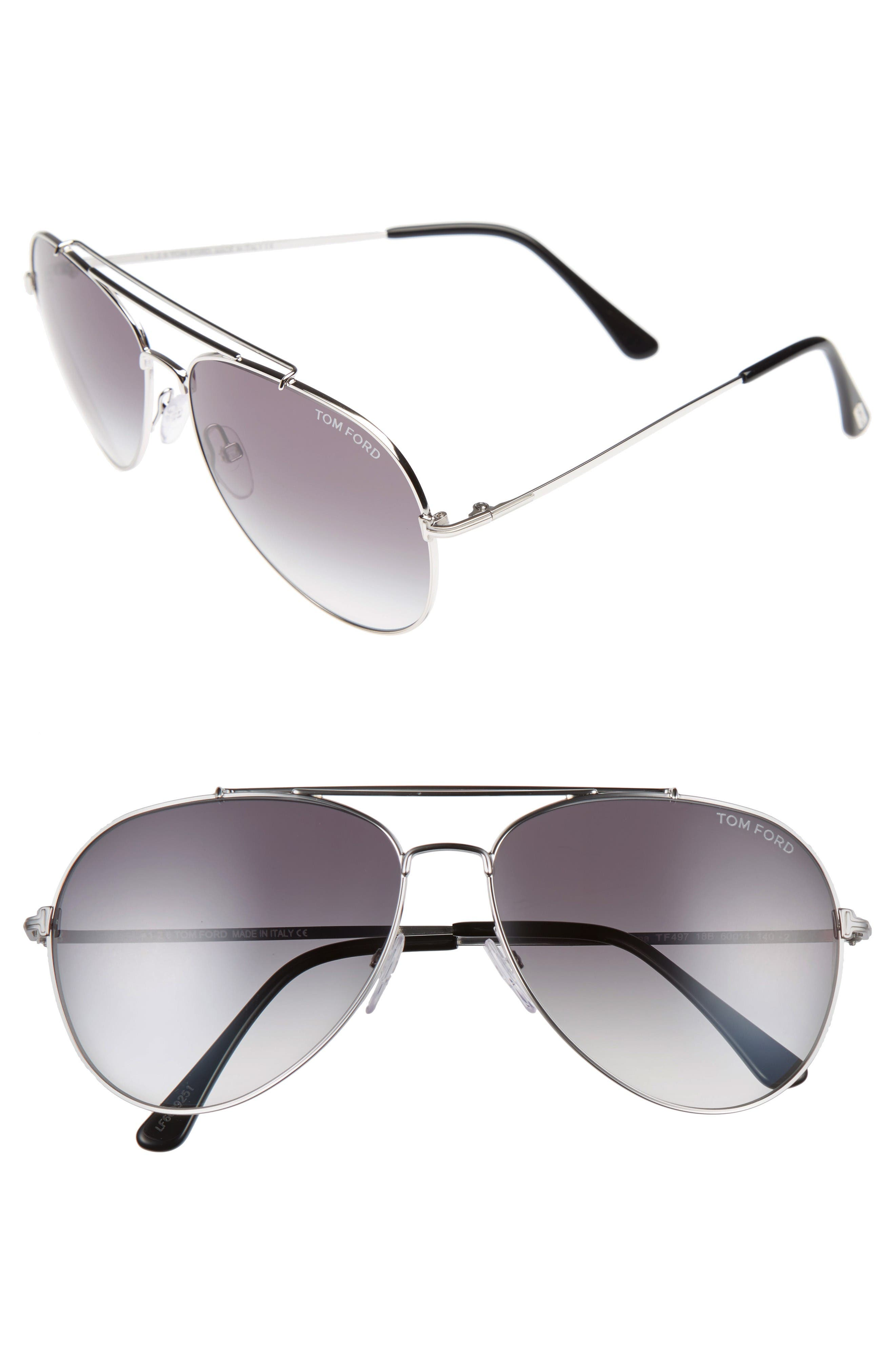 Indiana 60mm Aviator Sunglasses,                         Main,                         color, Shiny Rhodium/ Gradient Smoke