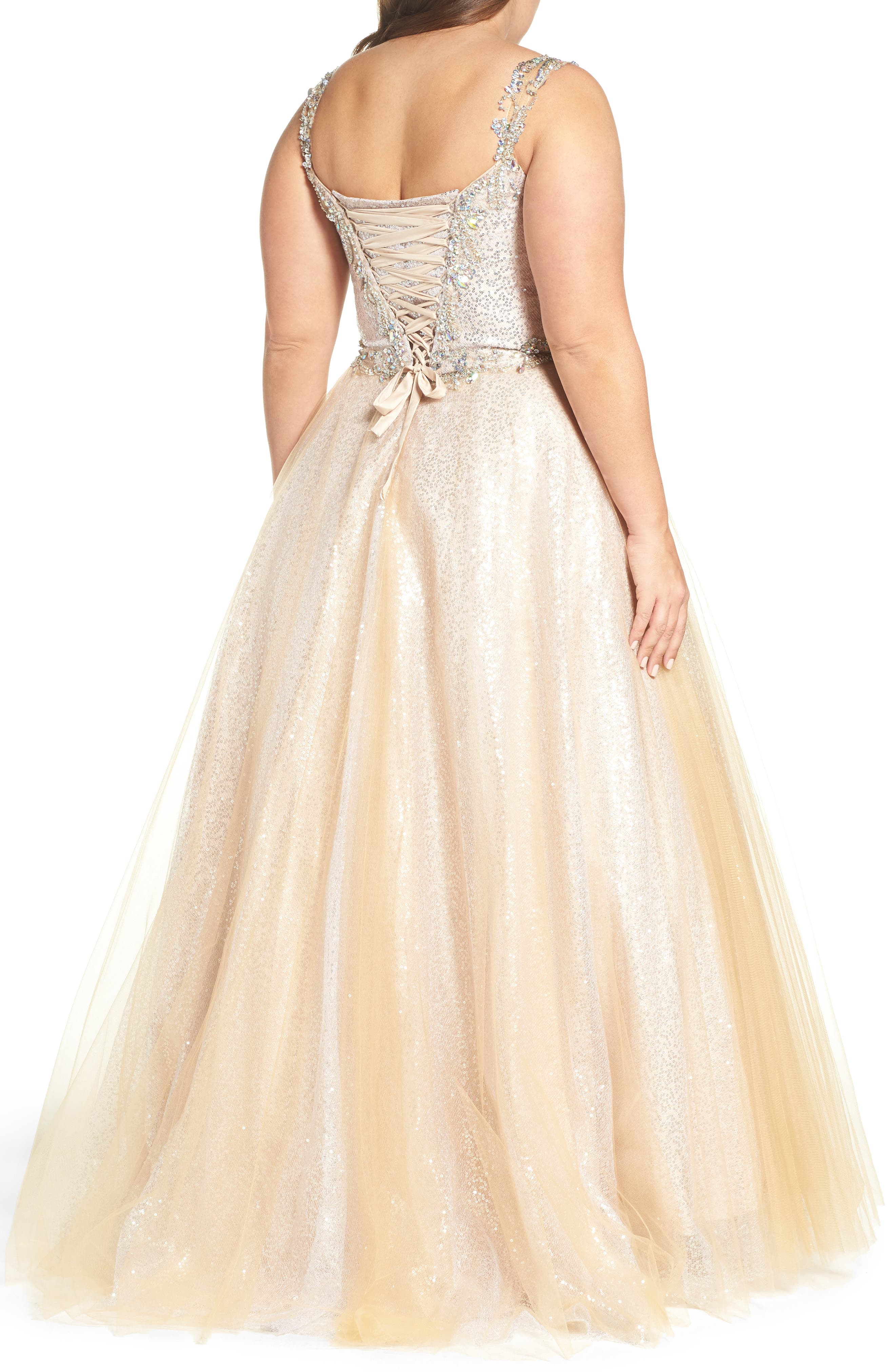 Beaded Tulle Ballgown,                             Alternate thumbnail 2, color,                             Nude/ Silver