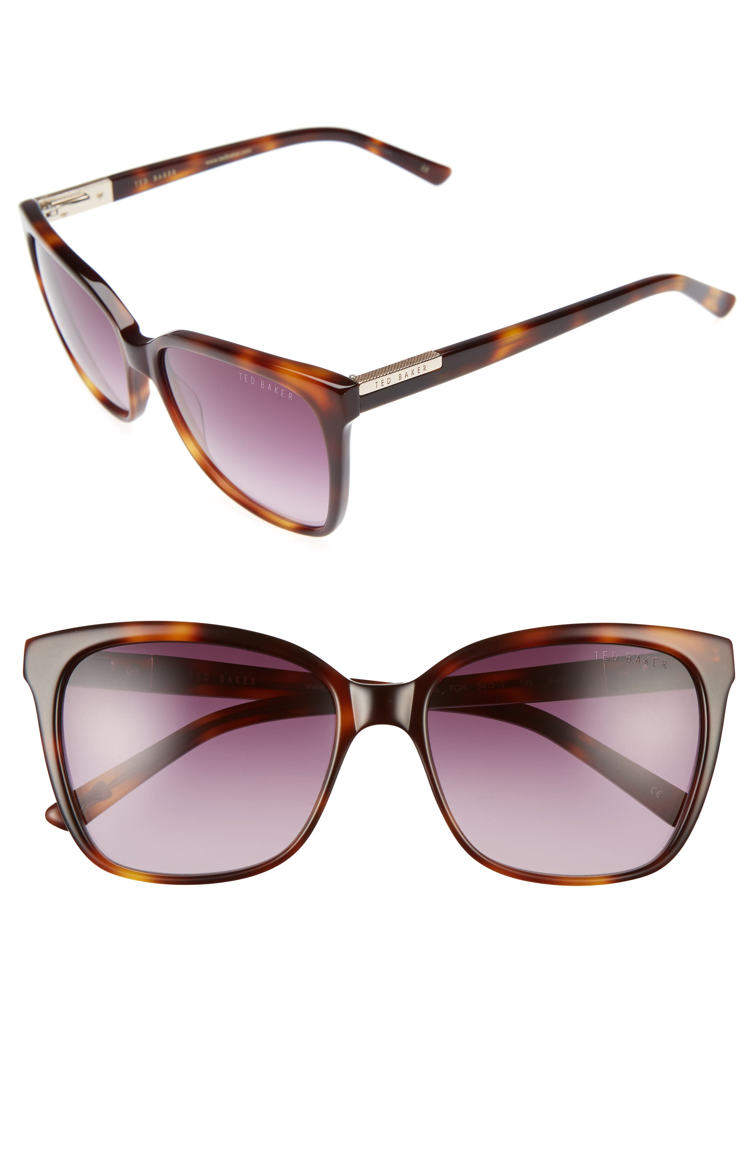 54mm Gradient Lens Square Sunglasses,                         Main,                         color, Tortoise