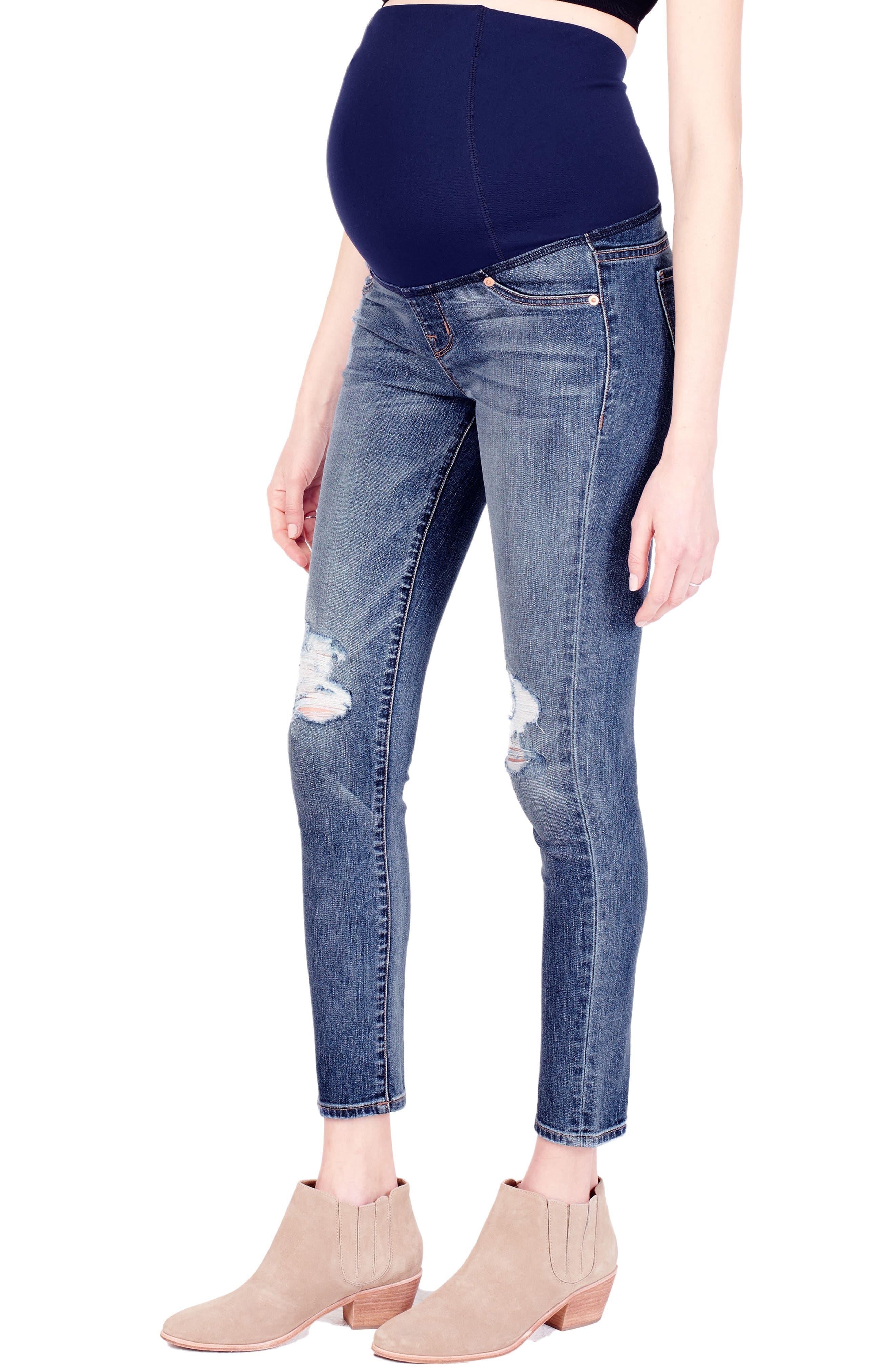 Alternate Image 3  - Ingrid & Isabel® Sasha Maternity Skinny Jeans with Crossover Panel™