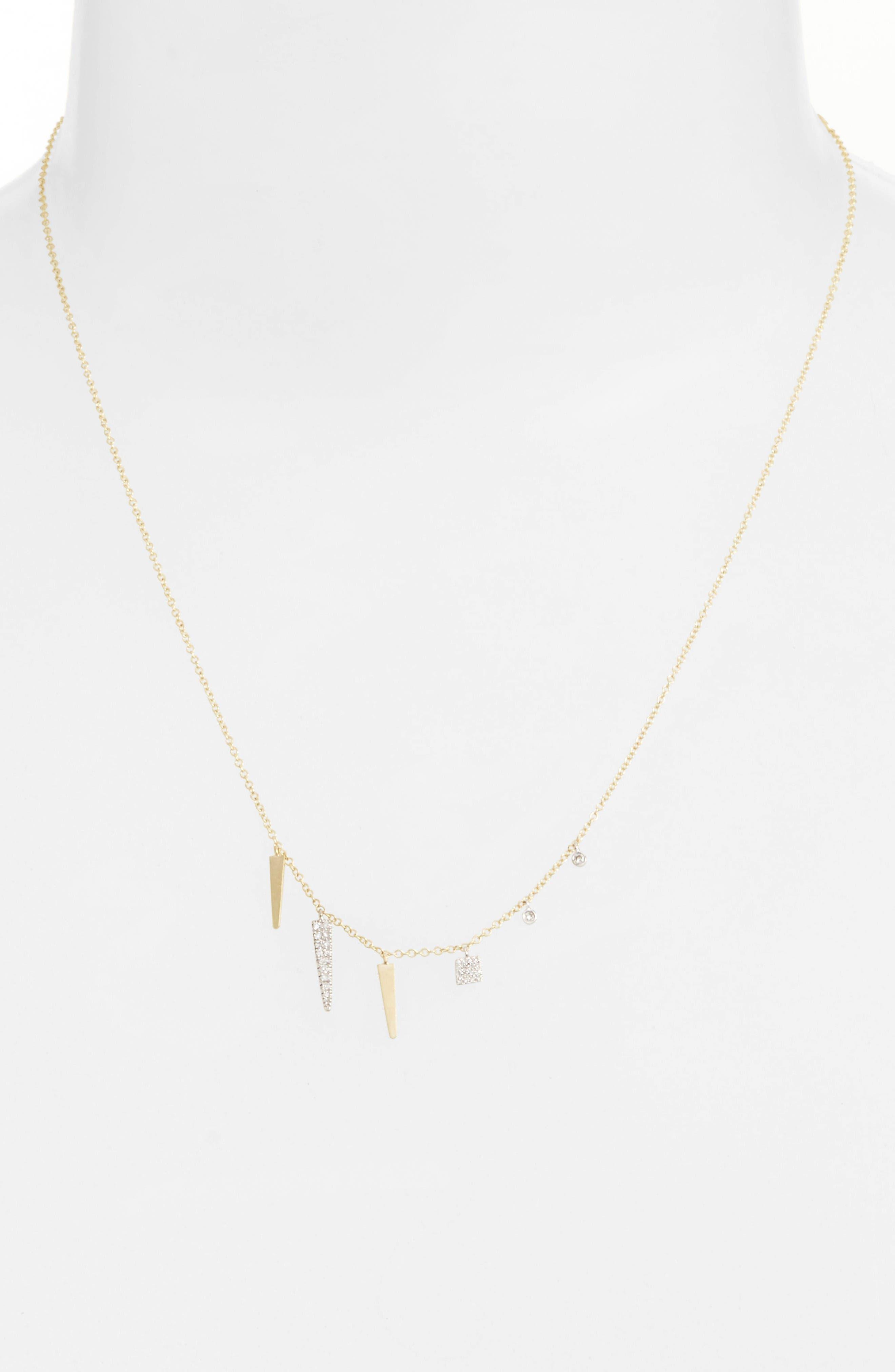 Alternate Image 2  - Meira T Diamond Spike Dangle Charm Necklace