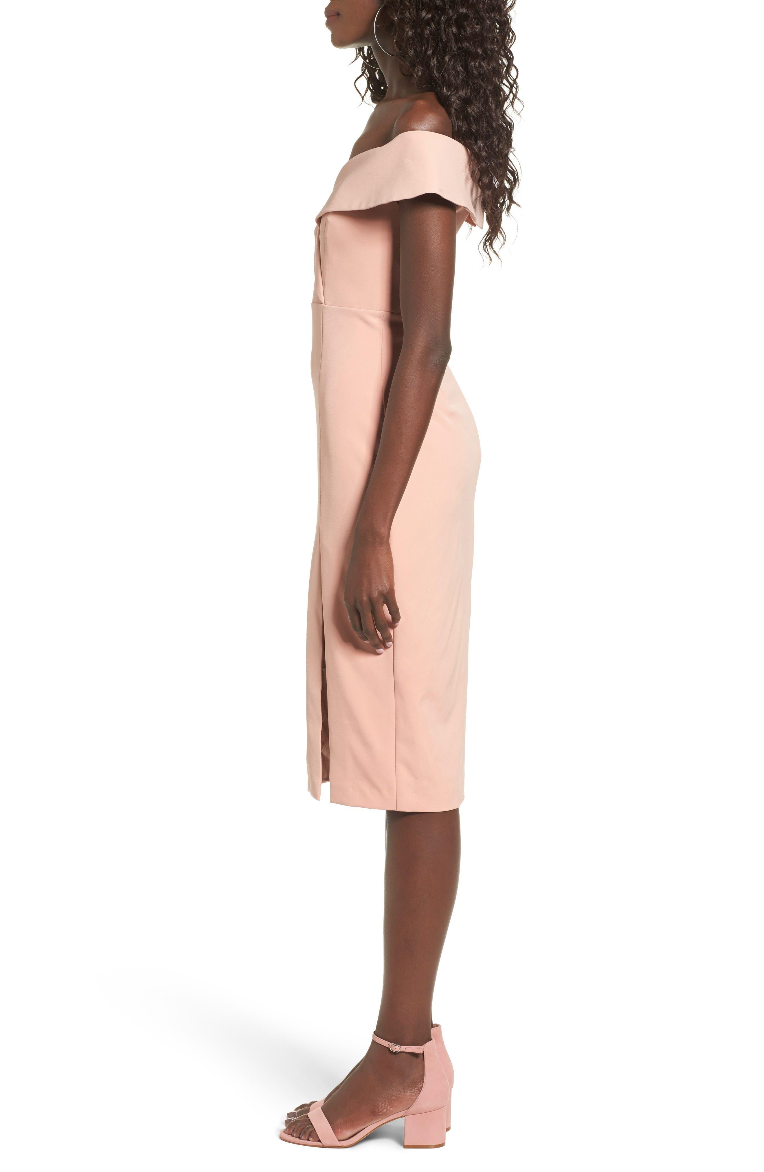 Bella Midi Dress,                             Alternate thumbnail 3, color,                             Peach