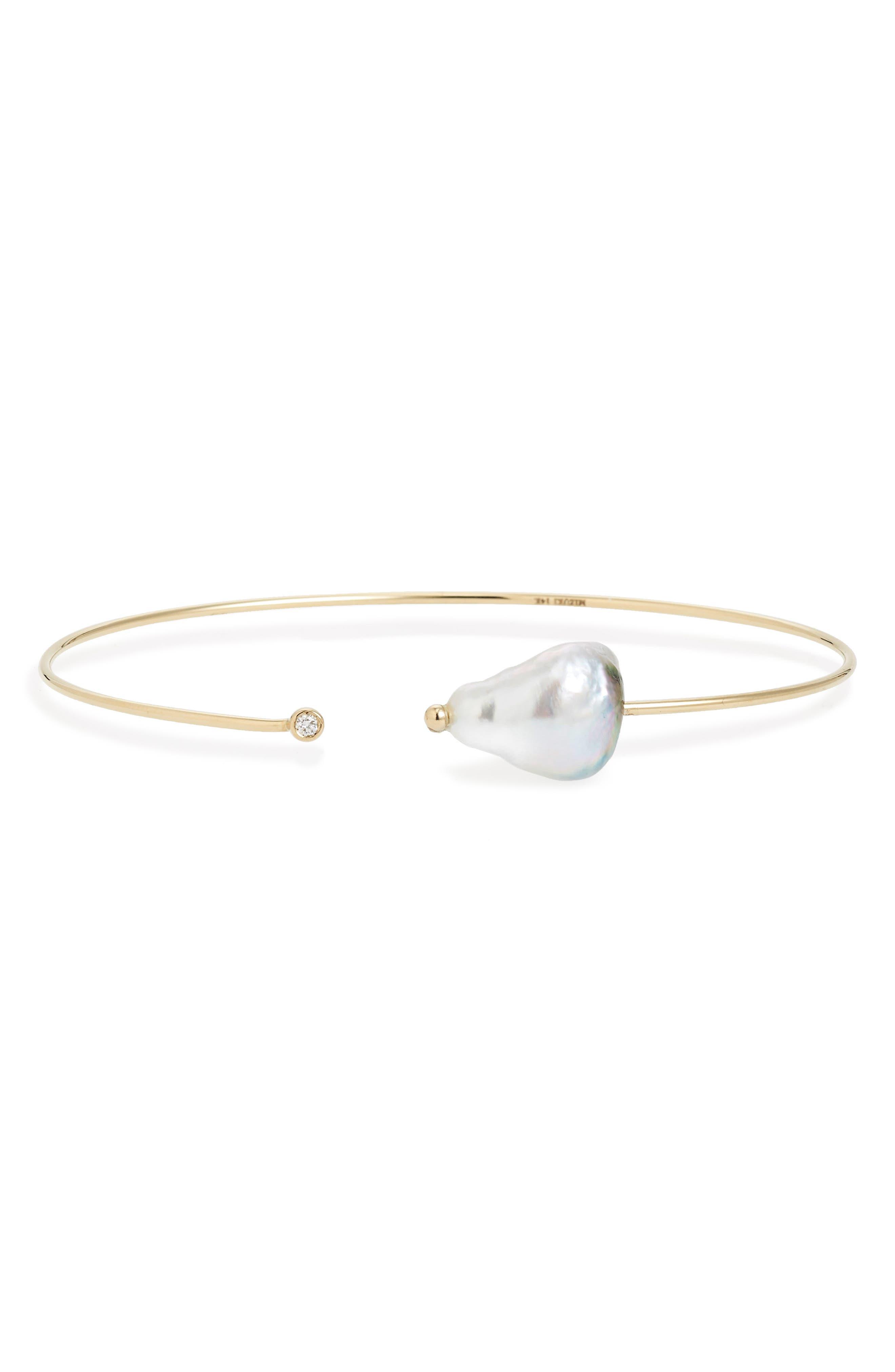 Diamond & Pearl Bracelet,                             Main thumbnail 1, color,                             Yellow Gold/ Grey Pearl