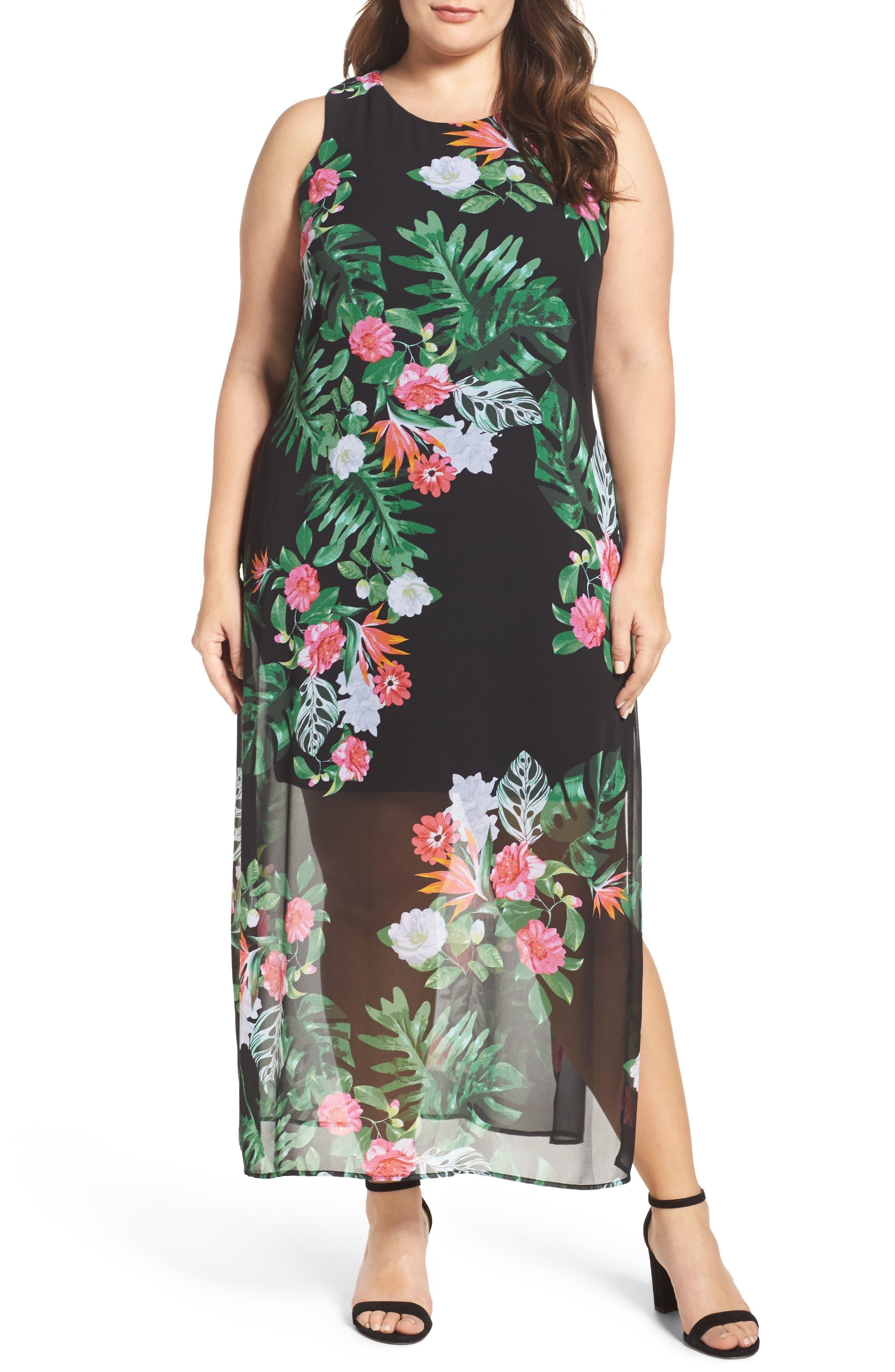 Havana Tropical Maxi Dress,                         Main,                         color, Rich Black