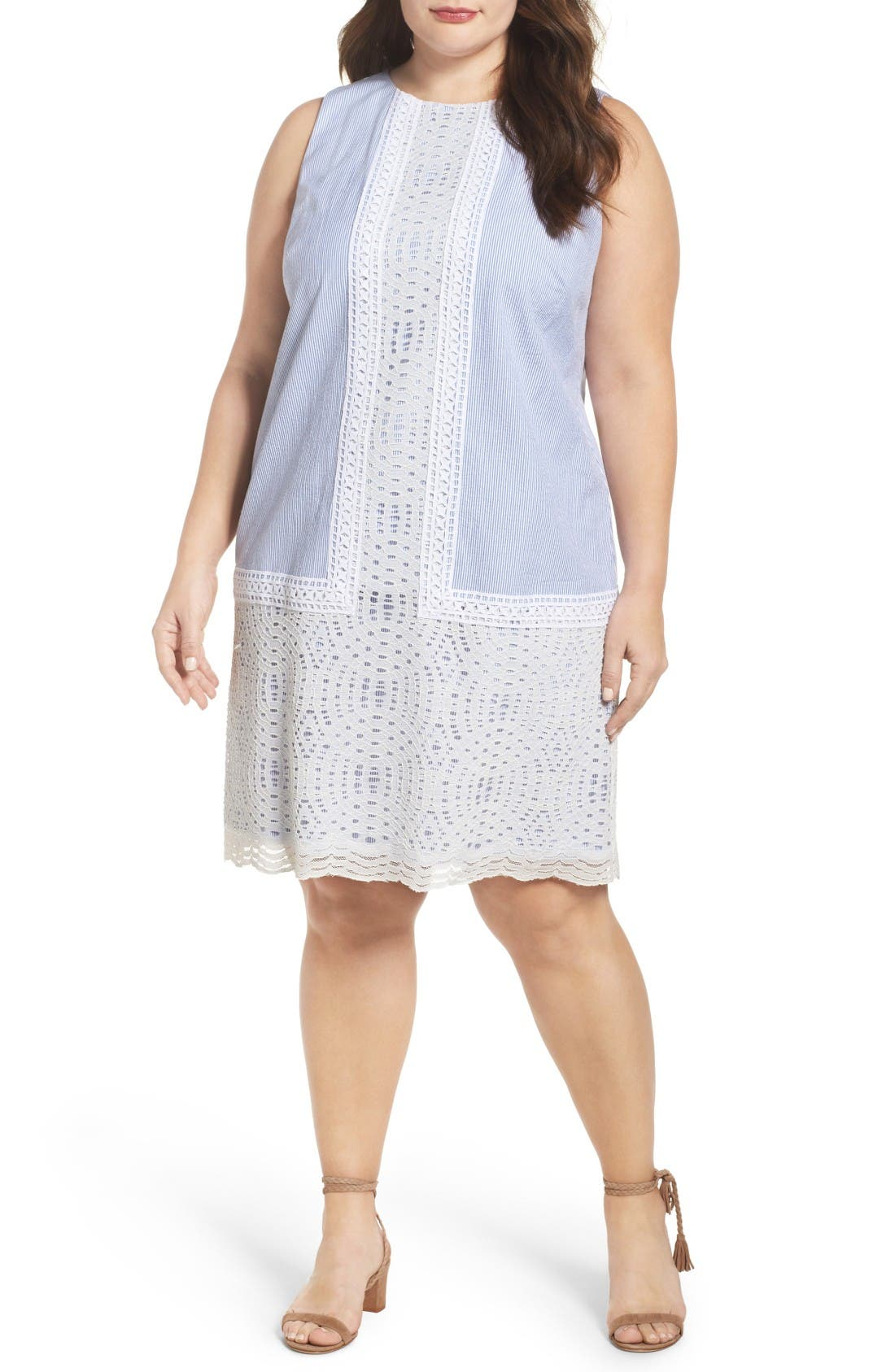 Lace Overlay Shift Dress,                             Main thumbnail 1, color,                             Blue White