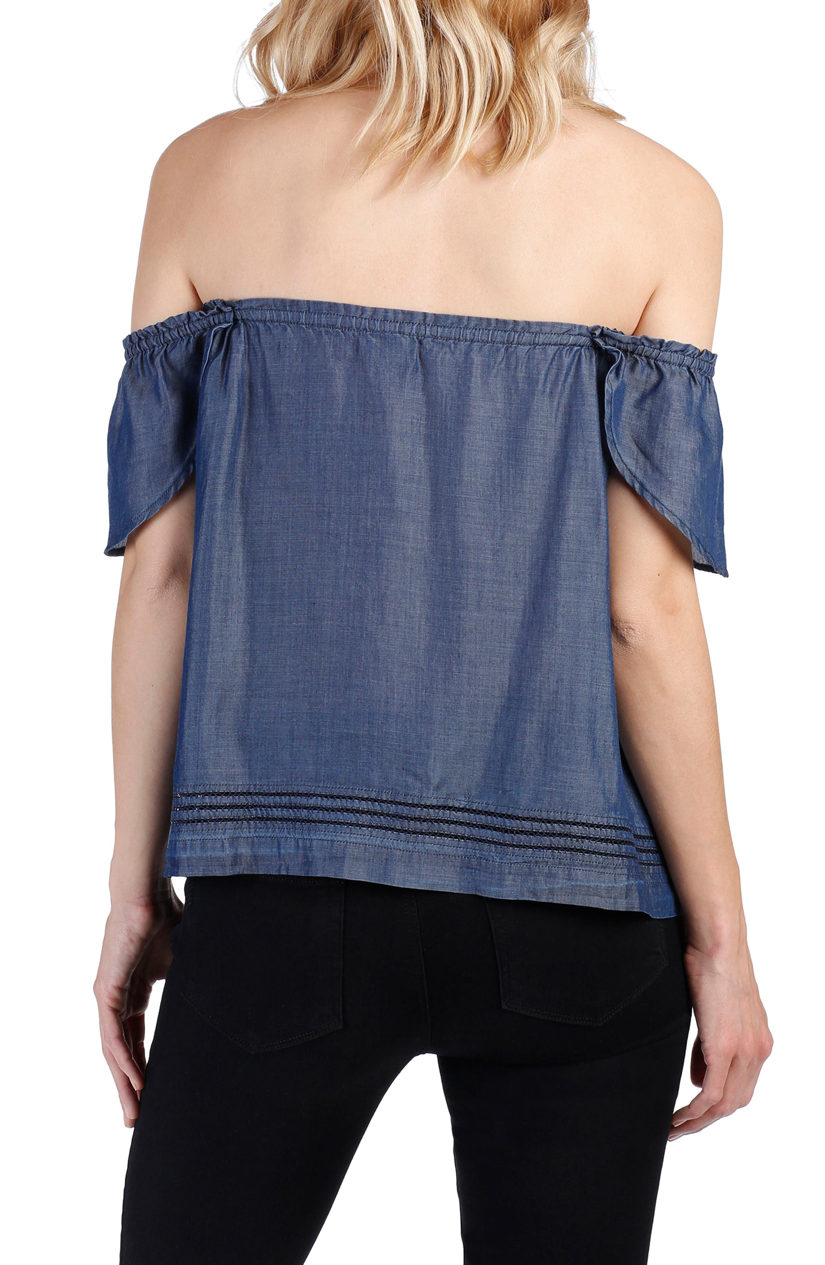 Beatrice Chambray Off the Shoulder Top,                             Alternate thumbnail 2, color,                             Cordelia