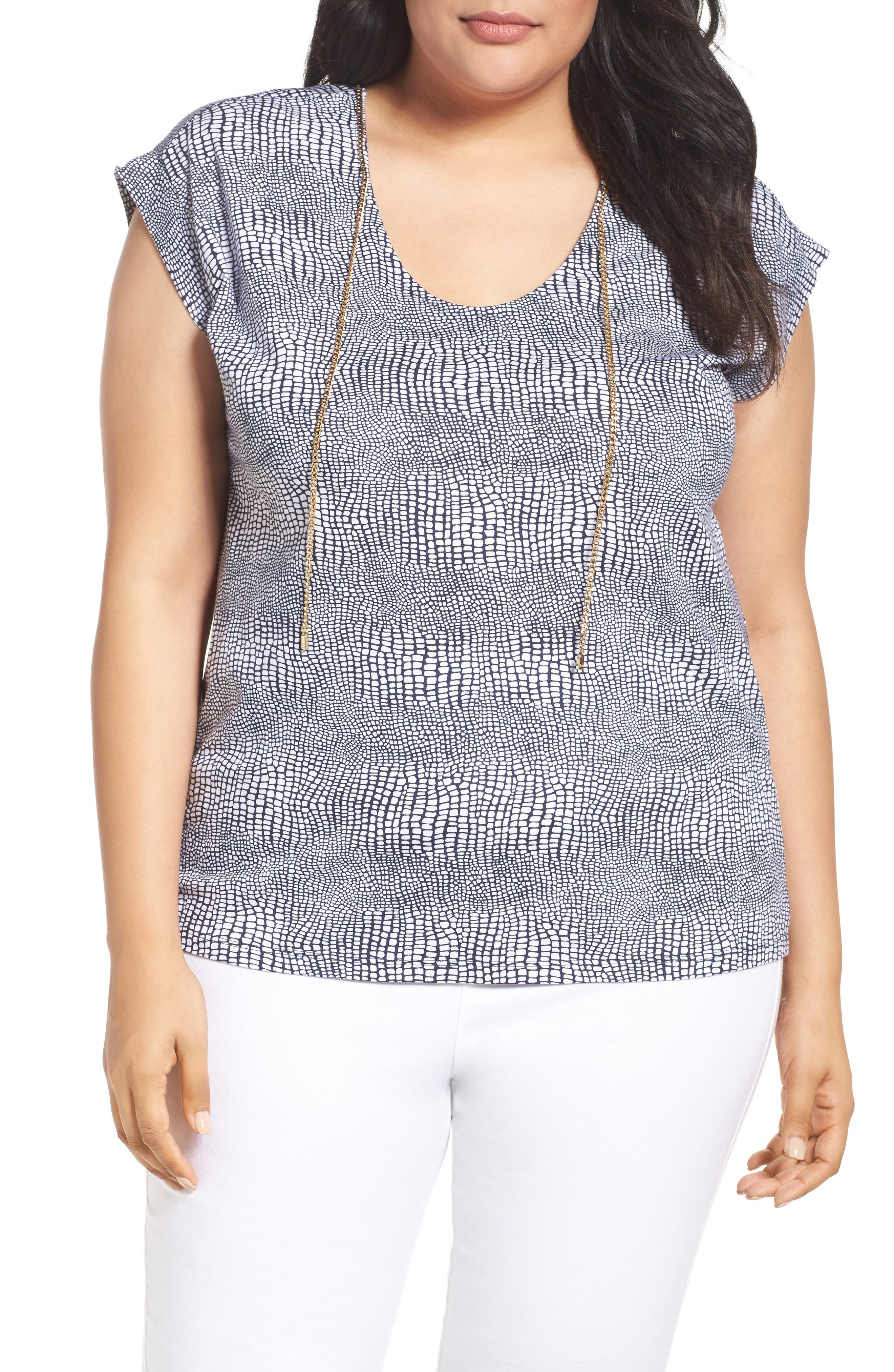 Main Image - MICHAEL Michael Kors Zephyr Chain Neck Top (Plus Size)