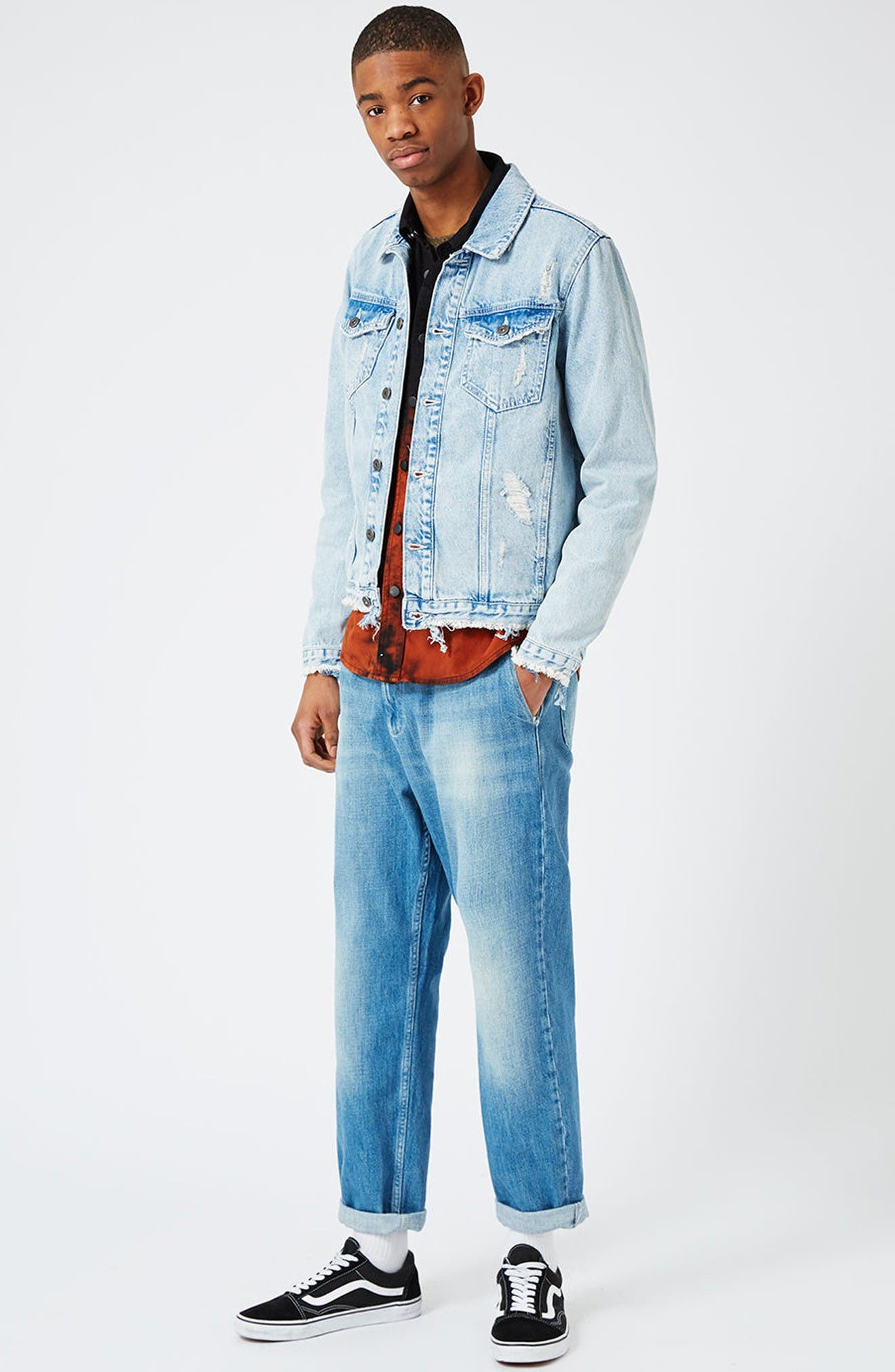 Distressed Denim Jacket,                             Alternate thumbnail 2, color,                             Blue