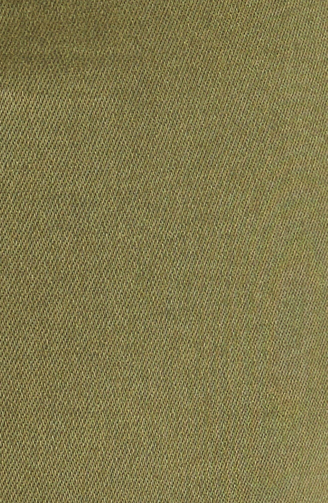 Natalie Frayed Hem Denim Bermuda Shorts,                             Alternate thumbnail 5, color,                             Olive