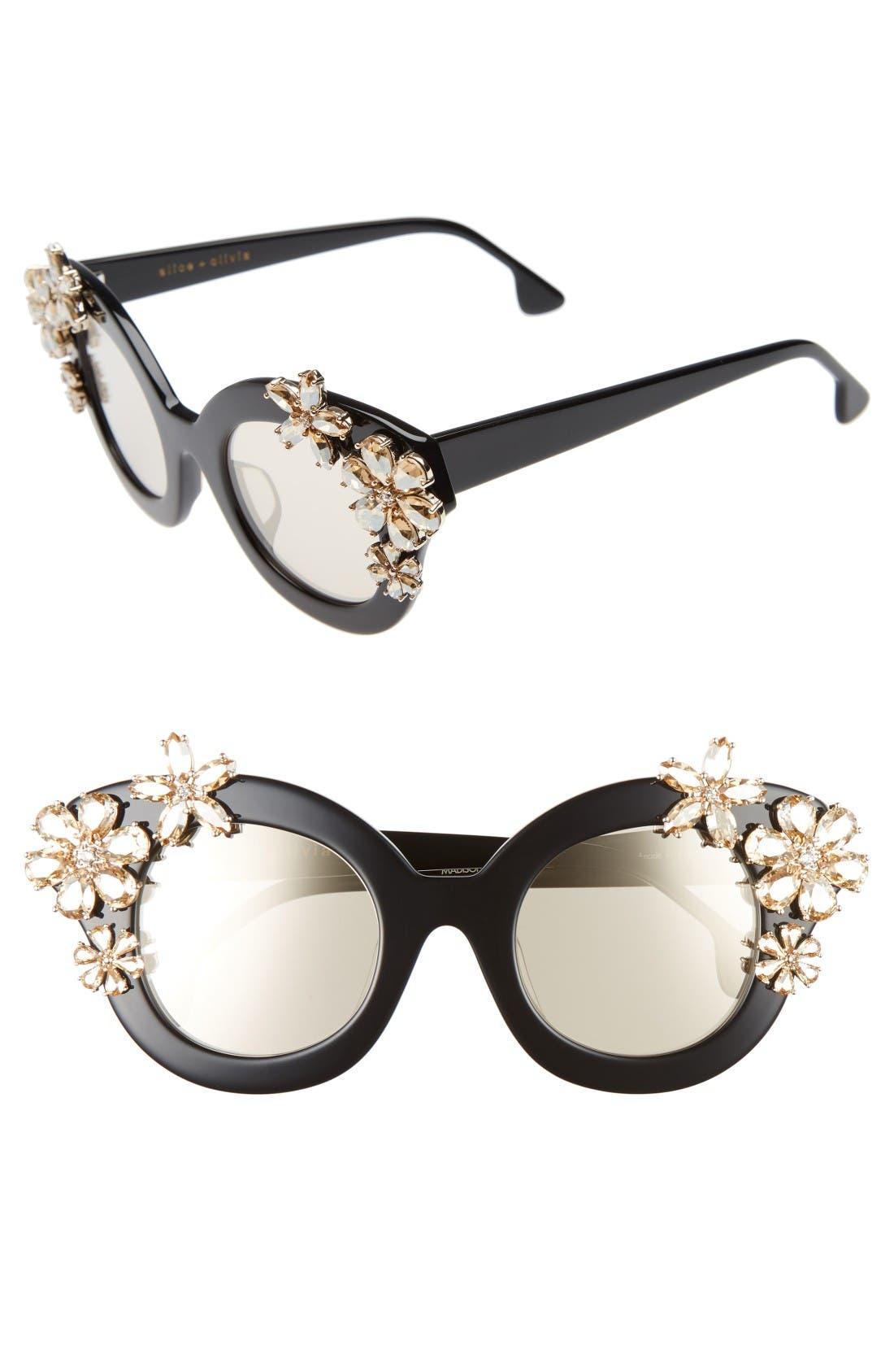 Madison Floral 46mm Special Fit Embellished Cat Eye Sunglasses,                         Main,                         color, Black
