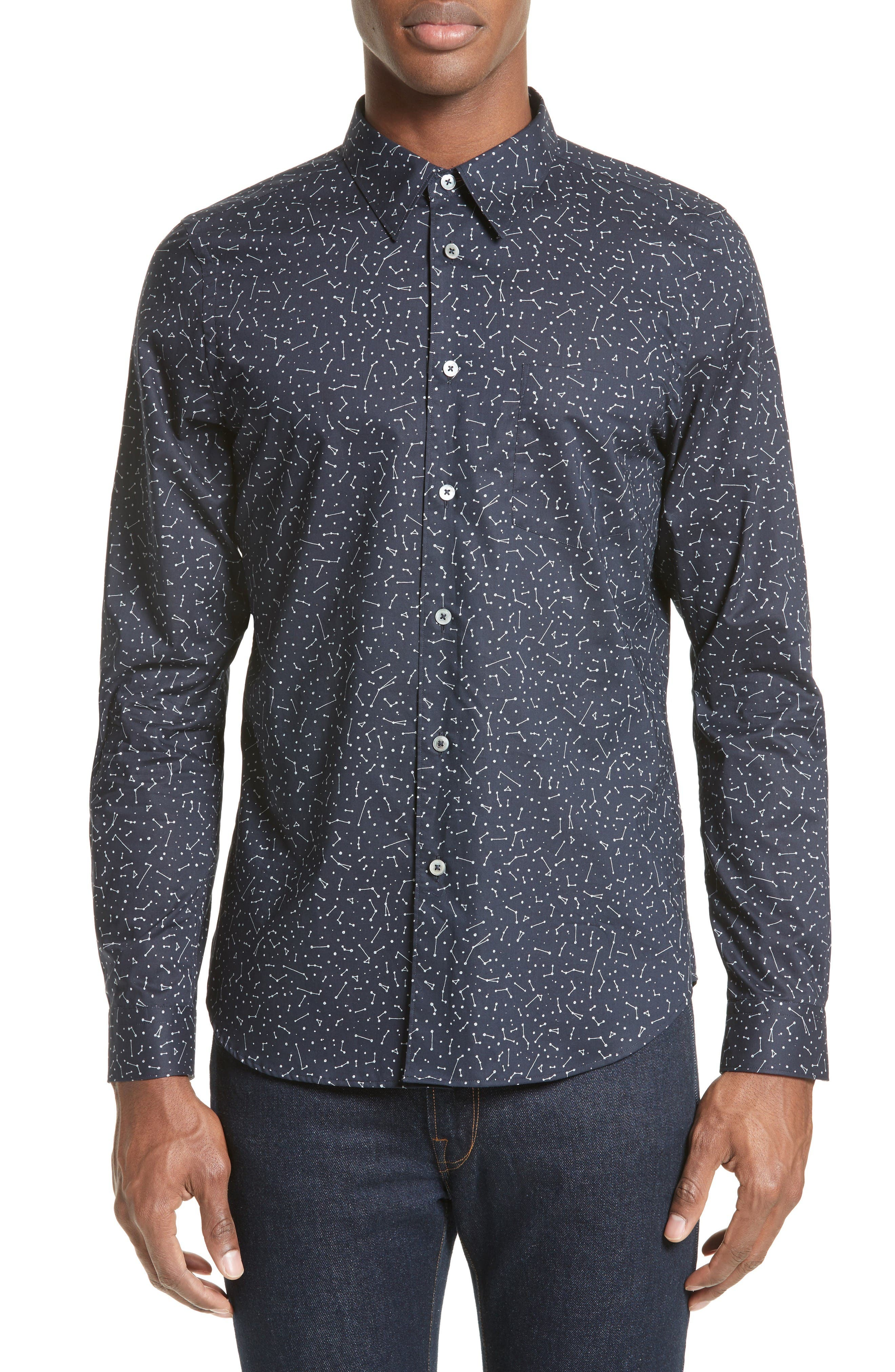 Extra Trim Fit Constellation Print Sport Shirt,                             Main thumbnail 1, color,                             Navy
